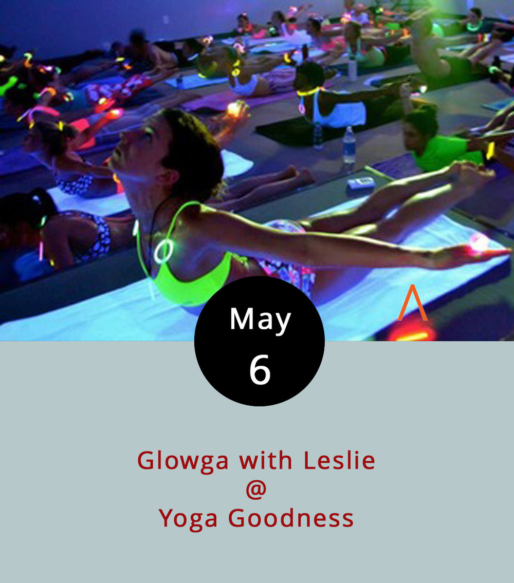 "There's plain yoga, hot yoga, and presumably room temperature yoga. Now there's also ""glowga,"" an invention of sorts that improves upon the time-tested discipline by adding glowsticks and blacklights. Yoga Goodness Studio teacher Leslie will introduce vinyasa-style glowga at an all-level class that we're told will include glowstick jewelry and ambient music. Yoga Goodness is located in the Rivervies Artspace building (901 Jefferson St.); click  here , or call (917) 855-0562, for more info."