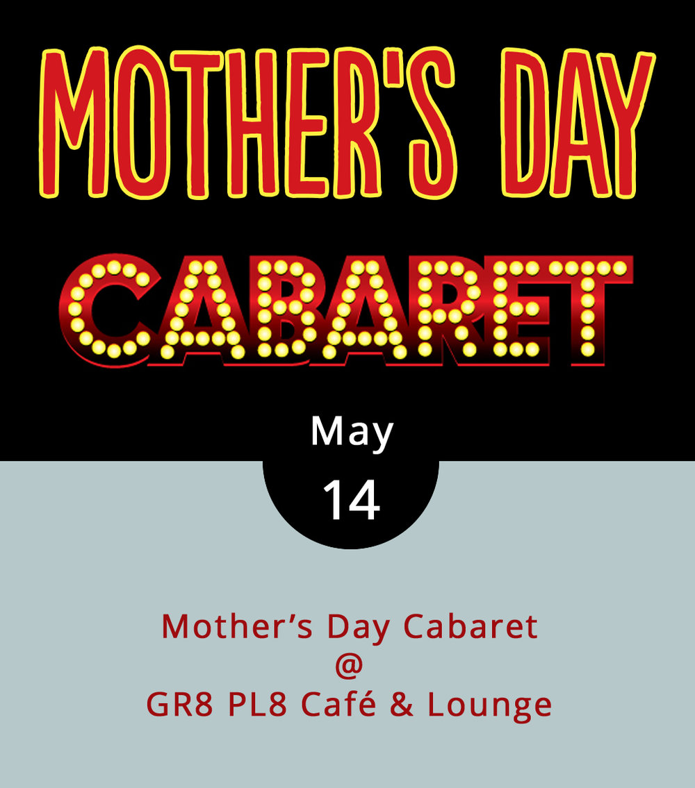 Forget about brunching and lunching and just kicking back on Mother's Day. Or, have brunch, lunch, or whatever, and then consider heading out the evening to a kicked-up Mother's Day cabaret at GR8 PL8 Café & Lounge (1415 Kemper St.). Think of it as an upbeat and energetic take on Mother's Day, featuring soul food, drinks, and dancing. The food will be the southern style, the music by DJ Dobie will be danceable, and you can find the GR8 PL8 in the Kemper Street Flea Market space. The cover charge is $5; click  here  or call (434) 851-9980 for more info. The party runs from 8 p.m.-midnight. The cover charge is $5; click  here  or call  (434) 851-9980  for more info.