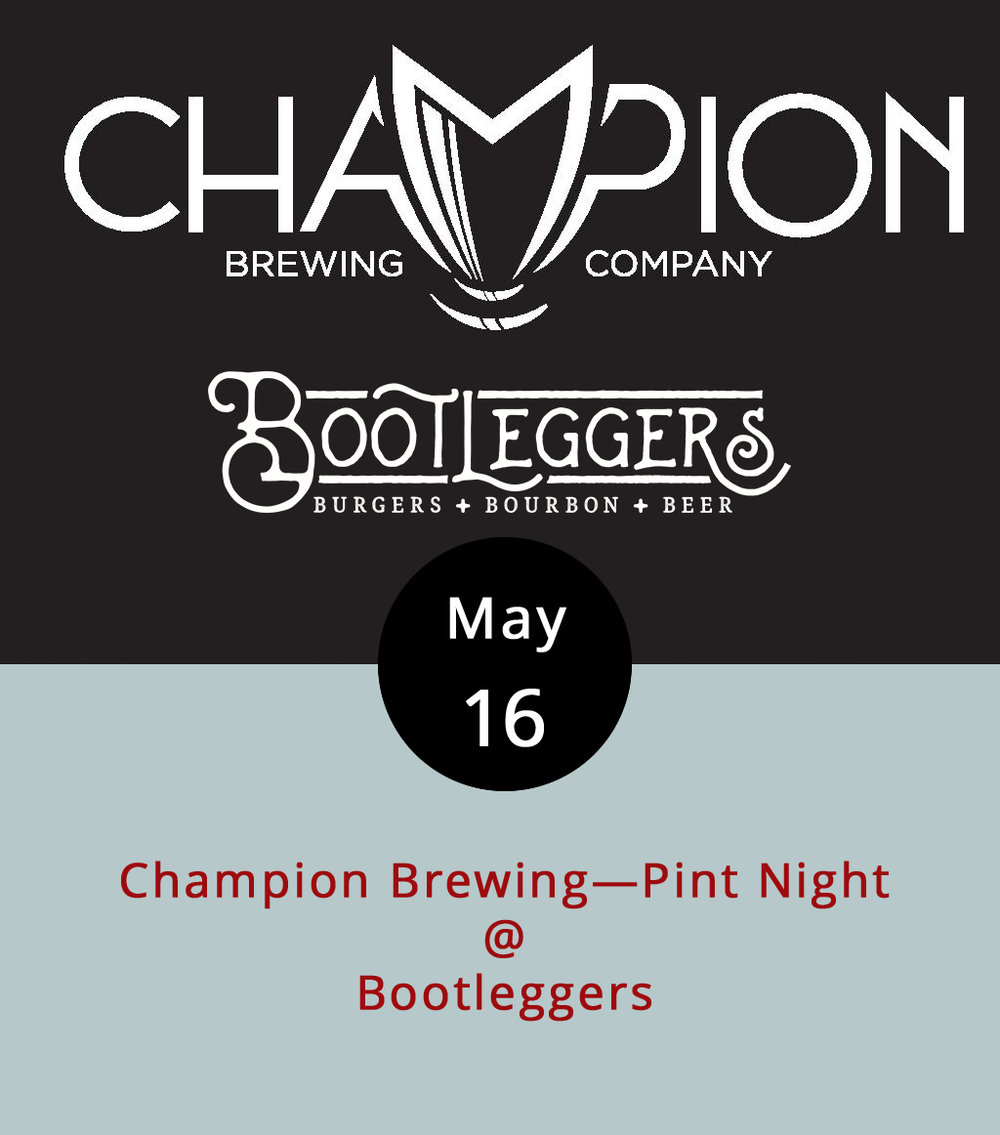 "The good folks of Champion Brewing Company are showing off their beer and showing their faces at Bootleggers's (50 13th St.) this evening from 5-9 p.m. Champion is a Charlottesville microbrewery that's been around since 2012 with a very cool mission: ""To create and share beers that move us in the same way our favorite records do."" Cheers to that. Three of their beers will be on tap at Bootleggers: a Shower Beer (a clean and simple pilsner made from Czech hops), Malibu Nights (a pink IPA with grapefruit and hibiscus), and a mystery beer that has yet to be determined. We're thinking it could be their Fruitbasket IPA, a fruity and herbal, mosaic-hopped concoction. Of, course, Bootleggers is home to some fairly formidably burgers, milkshakes, and a deep-fried Oreo cookie desert. So you might want to grab dinner. The menu is  here ; call (434) 333-4273 for more info."