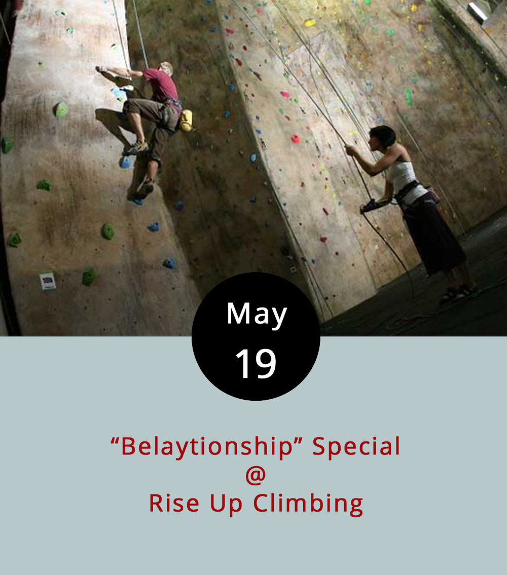 "Without getting into too much technical detail, belaying is a term of art used in the climbing world to describe a variety of safety measures that climbers deploy in order to prevent falling. That's a pretty important part of climbing, and the belayer is the essentially the person who has the job of making sure that his or her partner does not plummet to the ground. They can teach you how to do it at Rise Up (1225 Church St.), the cool indoor climbing gym downtown by the YMCA. The climber/belayer relationship can be somewhat intimate, so Rise Up has combined the terms for what they're calling a ""Belaytionship"" special Show up with a buddy or a loved one on Fridays from 5-10 p.m. and get a two-for-one discount on all your rock climbing needs – a potential savings of $7-$30 depending on how much climbing gear you'll need to get started. For more info, click  here , or call (434) 845-7625."