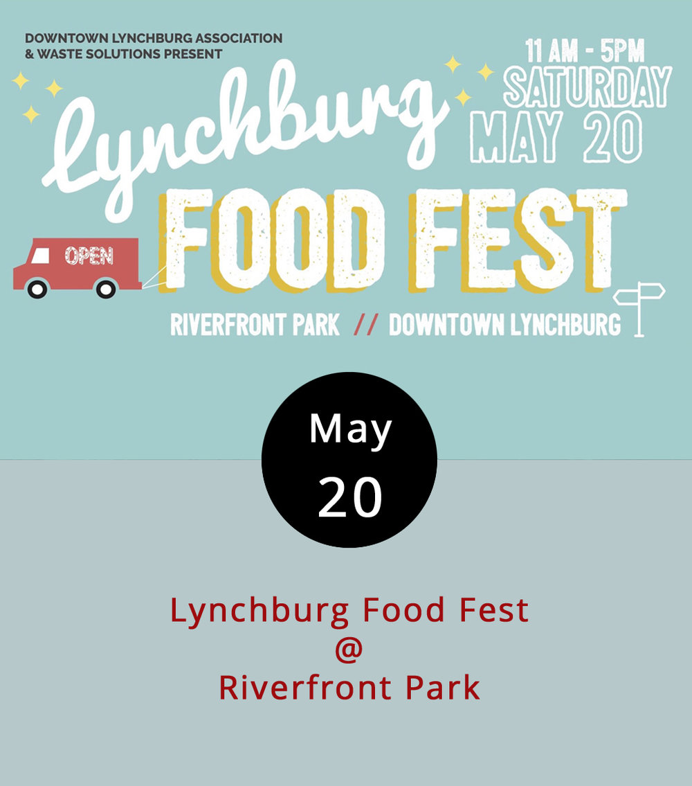 Saturdays are always a great time for eating in Downtown Lynchburg. If nothing else, you can grab a nice bowl of  pho , a cinnamon cruffin, a loaded-up crepe, and all sorts of fresh produce down at the Community Market. But, today is a little bit special. The Downtown Lynchburg Association is hosting a fundraising event at Riverfront Park featuring food by local restaurants, food trucks, and catering companies. Here's a partial list: Hill City Smokehouse; Sourdough Pizza Co.; Taco Shark; the Water Dog; Uprooted; and Upper Crust Pizza. There will also be beverages from Apocalypse Ale Works, Loose Shoe Brewing Company, Devils Backbone Brewing Company, Bold Rock Cidery, and more. The event runs from 11 a.m.-5 p.m., admission is $5; call (434) 485-7250 or click  here  for more info.