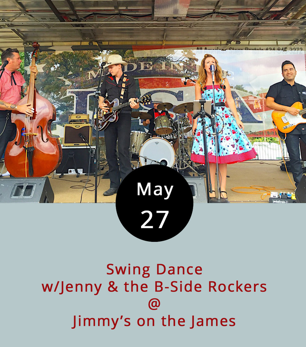 Ever heard the story of the red shoes? A girl finds a pair of magical red dancing shoes, puts them on, and can't help but dance until she drops. The local rockabilly band Jenny & the B-Side Rockers hope to put the crowd under a similar spell tonight at Jimmy's on the James (610 Commerce St.). The band goes on around 9 p.m., as the dinner rush is winding down, and will play until midnight. You can check out their music  here , peruse the Jimmy's dinner menu  here , and call (434) 845-1116 for more info.