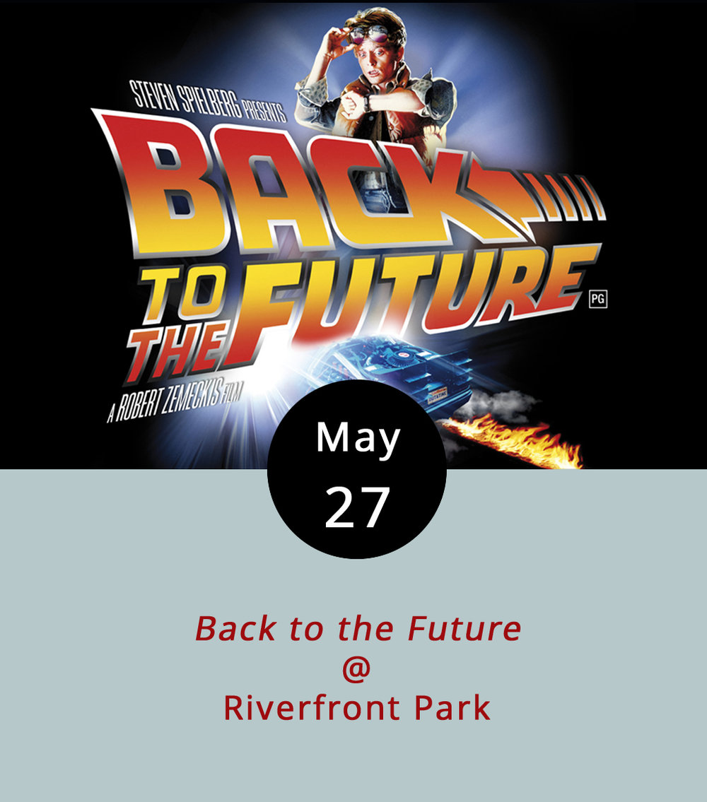 The fine folks at Lynchburg Parks & Rec are making the most out of the lovely space they've got at Riverfront Park (1100 Jefferson St.) with all kinds of events throughout the summer. Point in case: they've got an outdoor film series scheduled, and it begins tonight with the time-traveling, family-friendly 1985 comic classic  Back to the Future . Here's how it works: bring beach towels or blankets down to the park before dusk, grab a spot on the lawn, and enjoy the movie under the stars. The screening begins at 8 p.m., and there will be a food truck alley featuring Upper Crust Pizza Company, Uprooted, Pok-E-Joe's BBQ, Nomad Coffee Co., and Maylynn's Creamery. There will also be a movie-themed photo booth. For more info, including a parking map and a complete Movies in the Park schedule, click  here  or call (434) 455-5869.