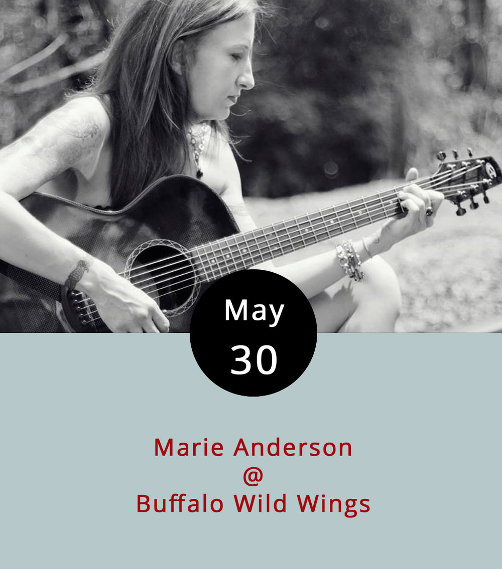 "Local singer-songwriter Marie Anderson is braving the wilds of the wings this evening, which is just another way of saying that she'll be performing on the patio at Buffalo Wild Wings (3812 Wards Rd.) from 8-11 p.m. If you're lucky, you may still be able to get the limited edition Scorpion Rum sauced wings. Apparently, it's ""so spicy, the wings come with a taste of vanilla ice cream to help cool down the sting."" Kinda like a jalapeno fried chicken sundae. Nice. Anderson's from the Smith Mountain Lake area, and she's got a rather eclectic array of songs up on her  ReverbNation page , including Johnny Cash's ""Folsom Prison Blues,"" Rihanna's ""Stay,"" and ""Gangsta's Paradise"" by Coolio. For more info, call Bdubs at (434) 237-8111."