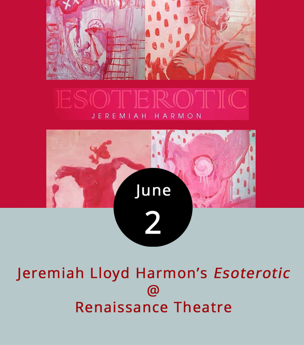 "If it's the inaugural Friday of the month, which means there's a full slate of activities happening downtown, including the usual gathering at Riverviews Artspace (910 Jefferson St.). Just a few blocks from Riverviews, at Renaissance Theatre (1022 Commerce St.), Baltimore-based artist Jeremiah Lloyd Harmon will unveil his latest works in a show titled  Esoterotic . It features acrylic and mixed media paintings on dry-erase boards and canvasses. As Harmon explained in an email, ""The inspiration of  Esoterotic  comes from my own body. The paintings are an observation of passion and sensuality as figure paintings in varying shades of red."" The exhibit reception at Renaissance Theatre runs from 5:30-8 p.m., which coincides with a glass-blowing exhibition at Vector Space, live music and exhibit openings at Riverviews, and much more. Most First Fridays events are free; click  here  for more info."