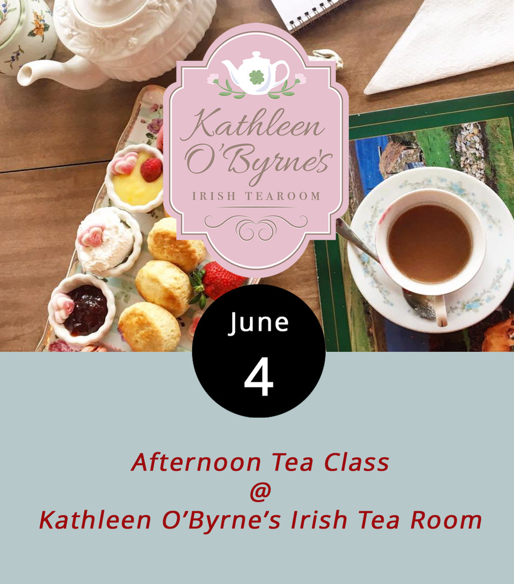 "Kathleen O'Byrne's Irish Tea Room (4925 Boonsboro Rd.) has been steadily injecting a little Irish tea culture into this town, one ""cuppa"" at a time. Today from 3-6 p.m. the process continues with instruction in the general etiquette of afternoon tea, which will include a 3-course tea service featuring sandwiches, pesto chicken tartlets, lemon curd and double chocolate dessert tartlets, ladyfingers, scones with jam and cream, and, of course, hot tea. It's $34.95 per person and reservations for the 32 spots are required. Click  here  for more info, or call (434) 473-5983."