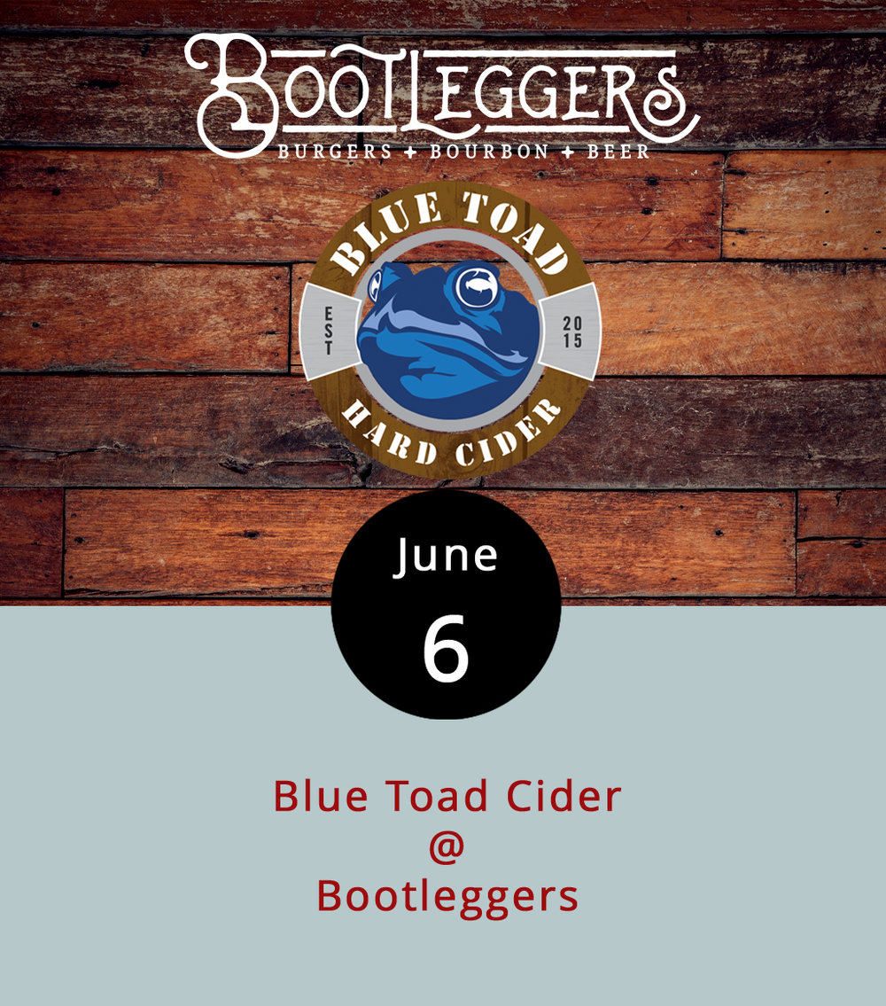 Nelson County's Blue Toad Cider will be taking over the taps at Bootleggers (50 13th St.) this evening from 5-9 p.m. Three ciders will be featured: the Bourbon Barrel Peach Cider, the Hawaii Toad Ohh Pineapple, and the Black Cherry. Blue Toad makes their hard cider from real Virginia apples, so you can feel virtuous as you support the local economy. To take a more in-depth look at the Bootleggers menu, click  here . If you have any questions about the takeover, call (434) 333-4273.