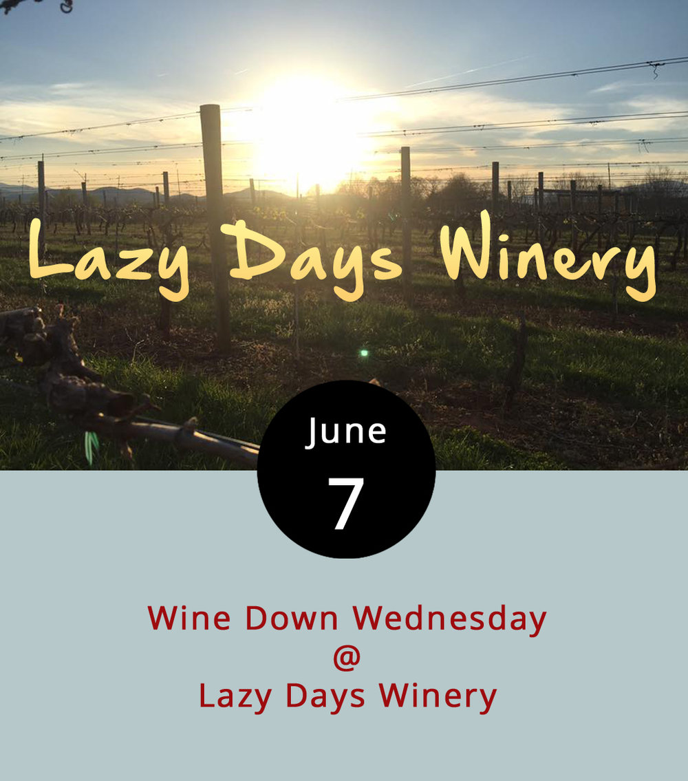 Lazy Days Winery (1351 N Amherst Hwy.) addresses the mid-week blues with Wine Down Wednesdays. Once a month, the Amherst County winery features a special drink for the evening (this time around, it's strawberry sangria), music, and a place to kick back from 5-8 p.m. in the winery's tasting room. The Porch Dogs will be playing an eclectic blend of oldies, pop, and rock this evening. Best of all, if you have a Lazy Days growler, you can get refills of that sweet, sweet sangria for $15 a pop. Call (434) 381-6088 or click  here  for more info.
