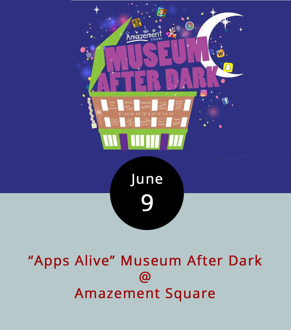"Amazement Square (27 9th St.) is aiming to draw middle-schoolers away from the tiny fingertip screens we're all attached to by springing some popular cell phone games to life. This Museum After Dark event, ""Apps Alive,"" will feature life-size versions of several time-sucking phone apps designed to please rising 6th through 8th graders, but that sound like they might appeal to parents as well. There will be a giant Words with Friends board; a Panda Pop station where participants use Nerf guns to shoot balloons filled with tiny pandas; a Snapchat scavenger hunt; a Temple Run-style obstacle course; and more. The event runs from 7-9 p.m.,  tickets are $15, and pizza slices, water, and soda will be available for $1. Call (434) 845-1888, or click  here  for more info."