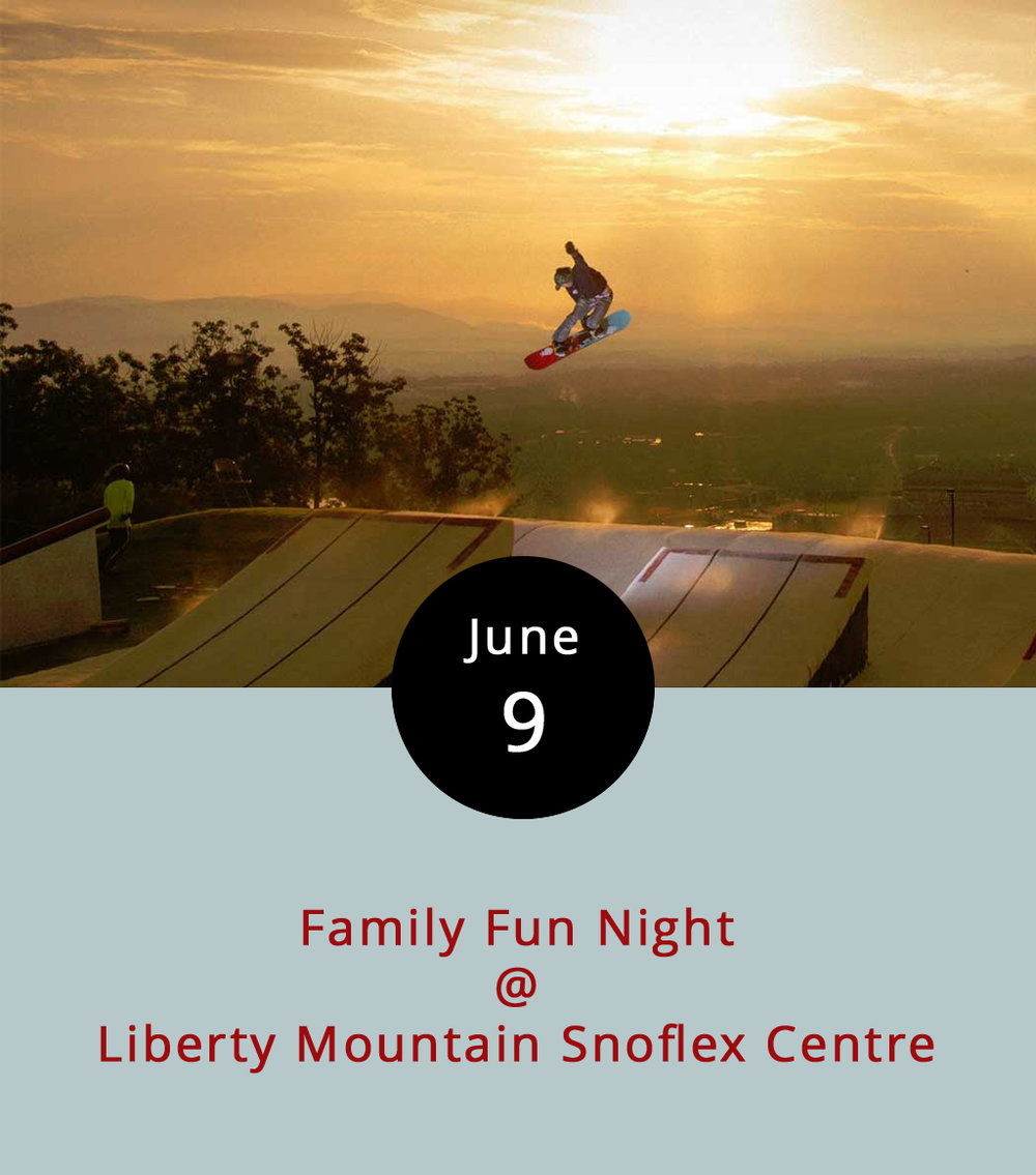 "Ever wonder what it's like to snowboard in June? Drop into the ""dryslope"" at Liberty Mountain Snoflex Centre (4000 Candlers Mountain Rd.) tonight at a Family Fun Night that'll feature skiing and snowboarding. You can fly over three jumps, roll up a quarter pipe and maneuver an array of rails, boxes and other features from 6-10 p.m. Equipment is included in the price of admission, which is $5 for adults and $3 for children 11 and under. For a more relaxed roll, the Snoflex also offers three tubing runs. Be warned: Attendees must sign a liability waiver. The event will include outdoor games, such as giant chess and cornhole, as well as local food trucks. For more details call (434) 582-3539 or click  here ."