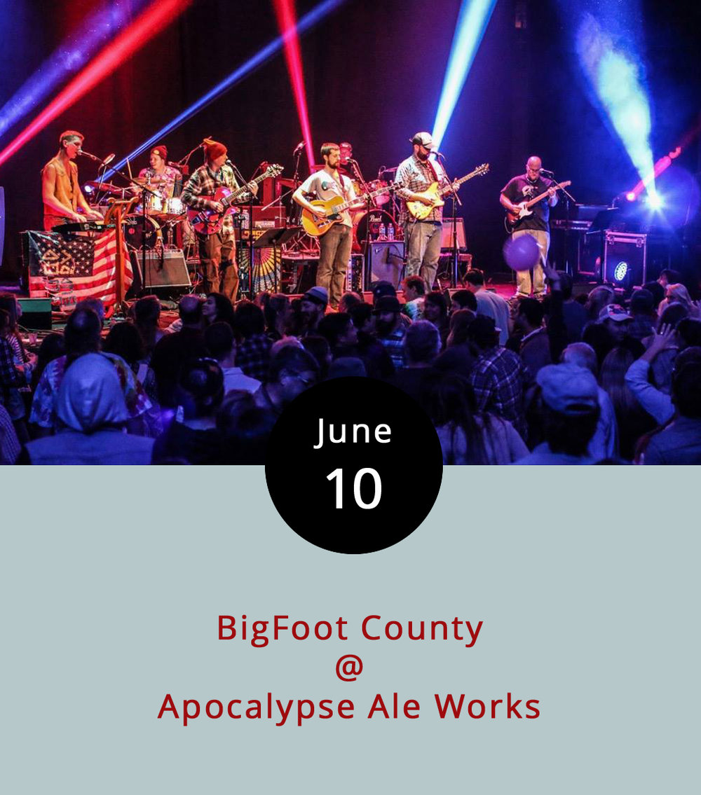 Come pay tribute to the Grateful Dead and tasty craft brews tonight as Lynchburg-based BigFoot County plays two full sets at Apocalypse Ale Works (1257 Burnbridge Rd.). The band is known locally for their jamming Dead covers, and we have it on good word from a band representative that tonight's show is one of the few they've got scheduled for this summer. The band will also be selling a limited number of prints and shirts designed specifically for the show featuring both Apocalypse and BigFoot County logos. The Smoke Ring BBQ truck will also be on hand. It all goes down from 8-11 p.m. Click  here  or call (434) 258-8761 for more info.