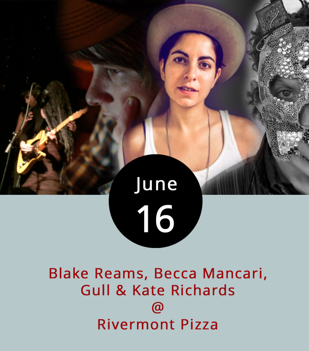 "Three singer-songwriters and a one-man masked band are joining forces for an epic night of music at Rivermont Pizza (2495 Rivermont Ave.), kicking off at 9 p.m. The line-up includes Blake Reams, a former RP ""head dishwasher"" who's now living in Nashville and playing solo for the first time in a while after being in the band  Filthy Kind ; Nashville-based singer-storyteller and former Lynchburg resident Becca Mancari seen  here  playing at the bygone Keep Colony;  Gull , a masked one-man band with a singular style; and Kate Richards, who can be heard  here  performing solo with electric guitar on her digital album  Lady of Leisure . The air conditioning is working fine, so despite the encroaching summer heat, don't worry about what will likely be a tightly packed show. For more information click here, or call (434) 846-2877."