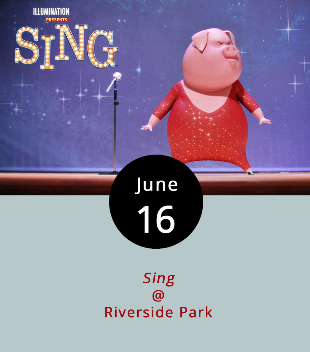 As the sun goes down tonight, settle into your lawn chair or onto your picnic blanket to find out whether a koala (voiced by Matthew McConaughey) can save his theater by putting on a singing competition in the animated musical/comedy  Sing . This month's Lynchburg Parks and Rec Movies in the Park event will be held at Riverside Park (2238 Rivermont Ave.), which features scenic overlooks of the James River. There will also be food trucks on the scene from 6-11 p.m. For more info about Movies in the Park, click  here  or call (434) 455-5858.