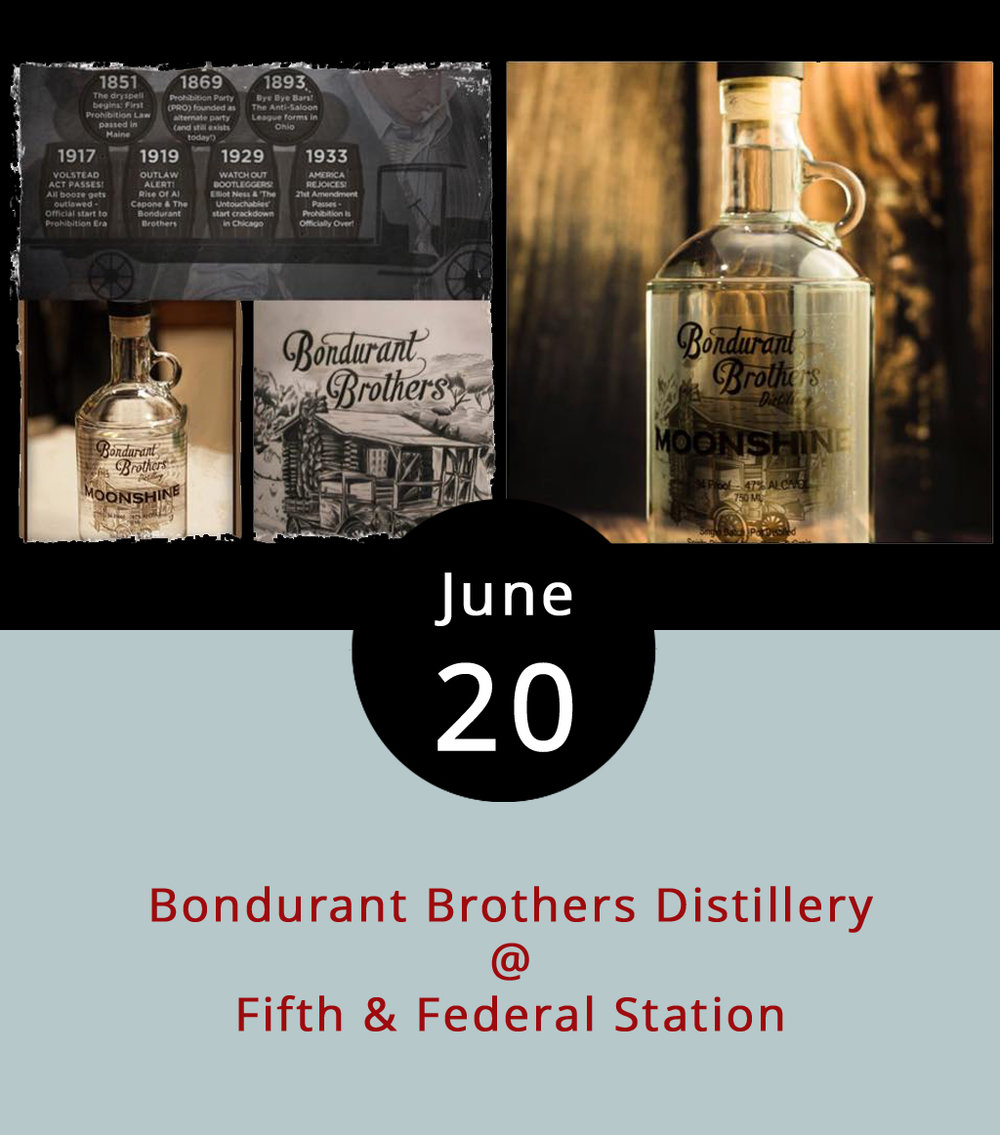 "Can you call white lightning ""moonshine"" if the distiller pays his taxes and operates under sunlight? Come to Fifth & Federal (801 Fifth St.) tonight to ask Robert Bondurant, a legal distiller and heir to the Bondurant Brothers legacy, which stems from his outlaw prohibition-era kinfolk. As legend has it, Bondurant's grandfather Jack was a real-life bootlegger. He was apparently the inspiration for Shia LaBeouf's character in the film  Lawless , a drama about Prohibition-era moonshining in Franklin County. Bondurant will be on hand to answer questions and share his family history at the restaurant off the 5th Street roundabout. Call (434) 386-8113 for more info or click  here . You can find Fifth & Federal's barbecue-centric menu  here ."