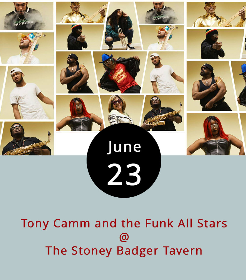 If you feel moved to break in your groove shoes before P-funk master George Clinton hits Riverfront Park (1000 Jefferson St.) on July 8, the Stoney Badger (3009 Old Forest Road) has you covered.  Tony Camm and the Funk All Stars , a Lynchburg-based cover band who are down with getting a little funked up, tout 15 members when they're at full strength. They play a mix of funk and dance hits by the likes of James Brown, Kool and the Gang, and, of course, Clinton's legendary Parliament Funkadelic. The show starts at 9:30 p.m. and there's a $5 cover. Click  here    for more info, or call (434) 384-3004.
