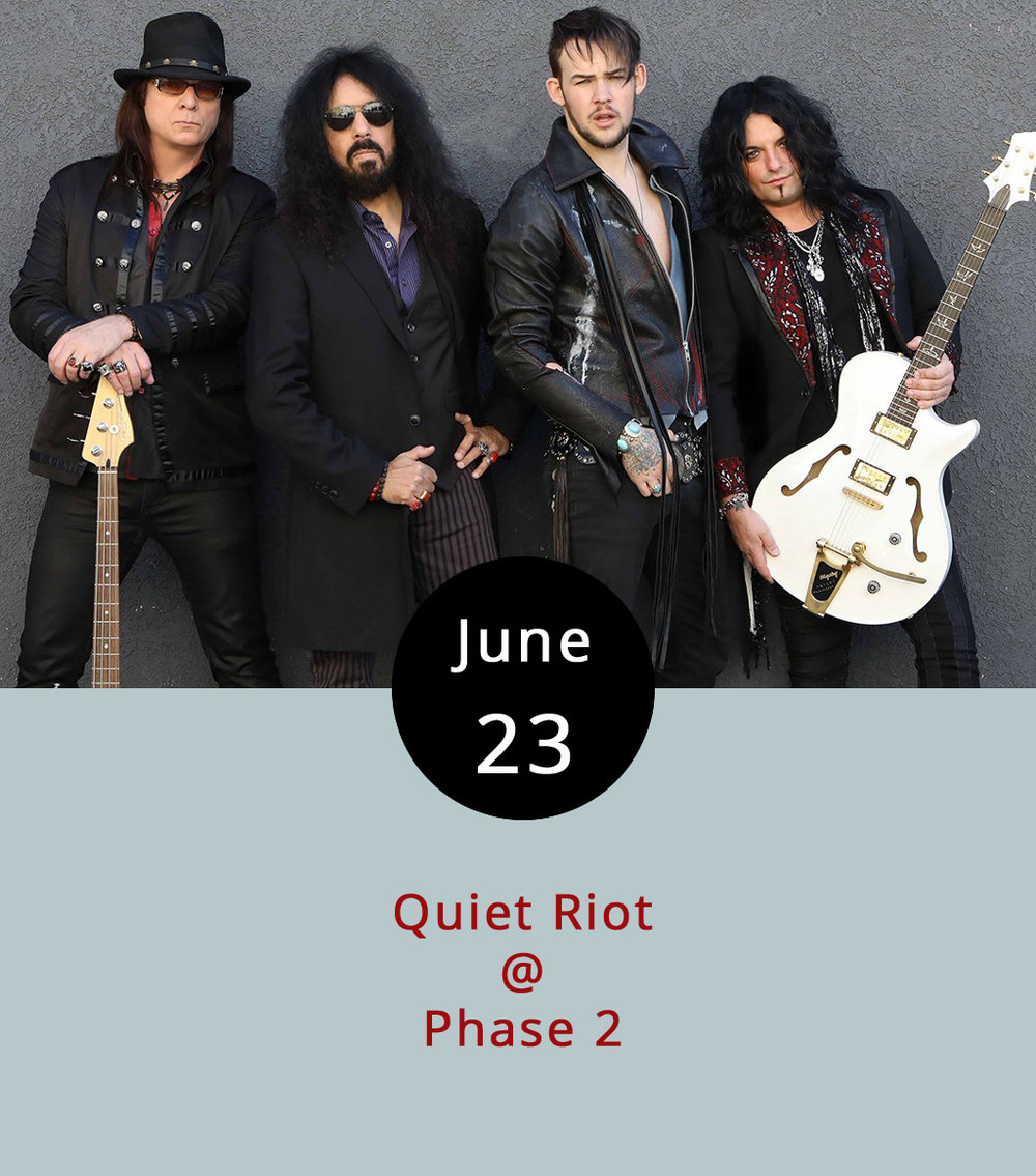 "You may remember Quiet Riot as the '80s hair-metal band who made a strong case for alternate spellings with their 1983 mega-hit ""Cum on Feel the Noize,"" as in ""girlz rock your boyz."" Or not. The group has experienced some tragedy over the years — founding guitarist Randy Rhoads died in a plane crash while touring with Ozzy Osbourne in 1982; throughout the '90s there was squabbling over the rights to the band's name among the surviving members; and original frontman Kevin DuBrow passed away in 2007. But the Riot continues, and they're headed to Lynchburg with a few long-time members and new singer James Durbin (4th place on the 10th season of  American Idol ). The show's on Friday, June 23 at 7 p.m. at Phase 2 (4009 Murray Pl.). Tickets are $19.99 in advance, $26 at the door; call (434) 846-3206 for tickets and info, or click  here ."