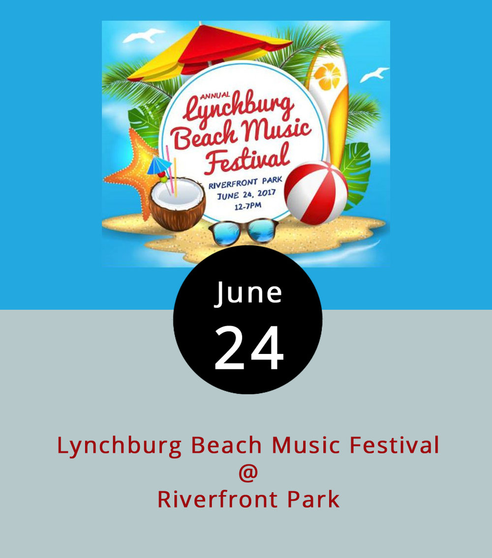 Down by the James River today there's gonna more of an oceanfront vibe, as the Lynchburg Beach Music Festival takes over Riverfront Park (1000 Jefferson St.) from noon-7 p.m. The family-friendly event features four bands, a high-wire circus act, arcade and carnival games, contests (including one using a mechanical surfboard), and  more . Tickets are $35, but the food, drink, contests, and games cost extra. South Carolina Beach Music Hall of Famers (yeah, that's a thing) the Embers are joined on the bill by Carolina Beach Music Award winners the Castaways, Raleigh's Band of Oz, and the self-explanatory Legacy Motown Revue. Click  here  for tickets and more info. Beach chairs and/or towels for seating are welcomed. Call (434) 207-2831.