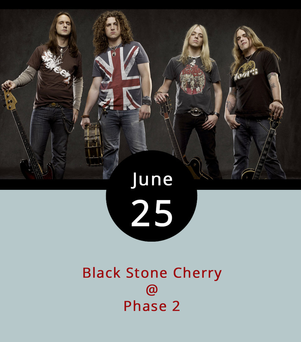 They're coming all the way from Edmonton, Kentucky to play Phase 2 (4009 Murray Pl.) this evening, which should make for a fairly rockin' end of the weekend. Black Stone Cherry describe themselves as a southern rock band, although they're known toward the harder end of the rock spectrum. They've released five studio albums since 2001, toured all over the country, and opened for the likes of Bad Company, Lynyrd Skynyrd, Nickelback, and Def Leppard. Doors are at 7 p.m., and the music should start by 8. General admission tickets are $19.50 in advance and $26 at the door. Click  here  for tickets and info, or call (434) 846-3206.