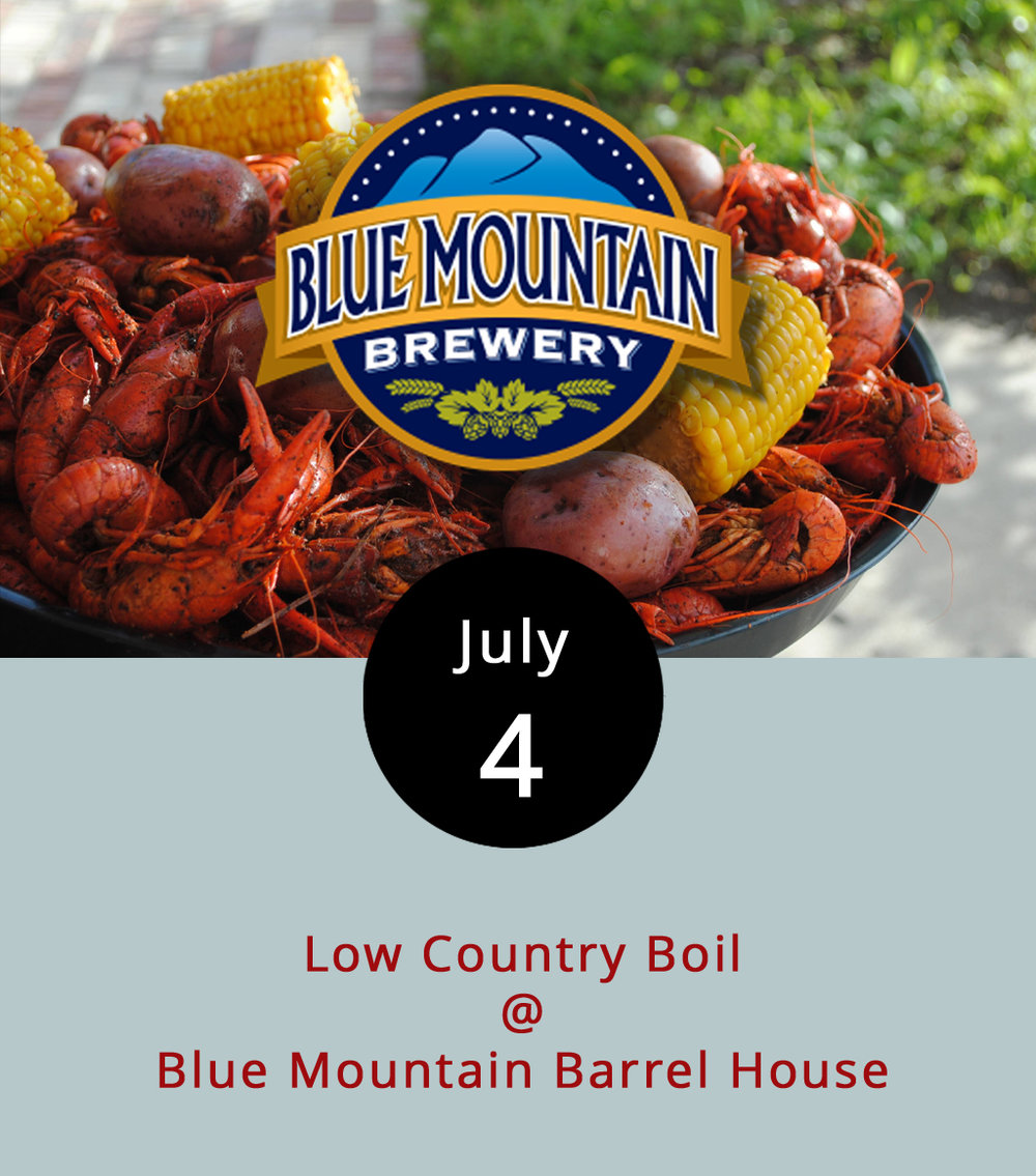 The Blue Mountain Barrel House brewery (495 Cooperative Way) in Arrington is spicing up Independence Day Louisiana style. From 11 a.m.-8 p.m. they'll have plates for $15, which includes a quarter pound of crawfish, a quarter pound of shrimp, andouille sausage, corn on the cob, and potatoes. Burgers, hot dogs, and other options will also be available for purchase in the barrelhouse's food truck, which functions as an extension of the brewery restaurant. Local brewers First Colony Winery and Blue Toad Hard Cider will also be on hand. Three bands are scheduled for the day: the countrified Jason Burke Trio will start things up at noon; Rockfish Gap Bluegrass take it from 2:30-5 p.m.; psychedelic mandolin-power trio Firecracker Jam will finish things off from 5-7:30 p.m. There's no cover; call (434) 263-4002 or click  here  for more info.