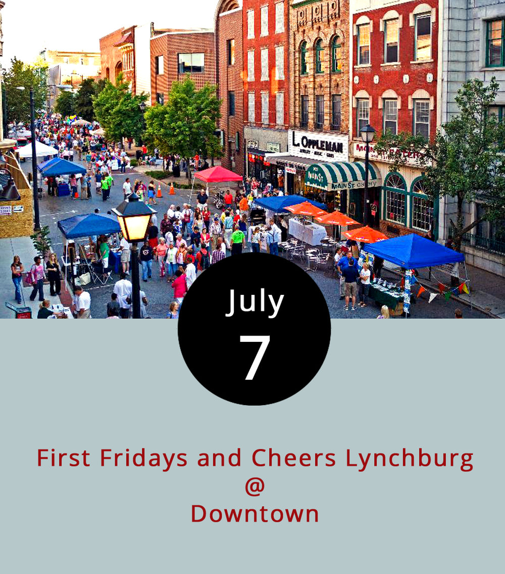"While walking up and down Lynchburg's hills offers great exercise, the free shuttle trolley will be back in service for First Fridays tonight, allowing patrons to save time and reach a variety of exhibits. To view the circuitous downtown route and parking spaces, click  here . Riverviews Artspace (901 Jefferson St.) kicks off the Riverviews Biennial at 5:30 p.m., a sort of family show featuring artists who create, live, support or are otherwise connected to the downtown institution. For more information, including a complete list of featured artists, click  here . Academy Center for the Arts (600 Main St.) features a ""lost and found"" exhibit provided by a group of area art collectors, and the Lynchburg Museum (901 Court St.) hosts a New Deal-era art collection. Vector Space (402 5th St.) and the First Unitarian Church (818 Court St.) will both offer food-related exhibitions. First Fridays generally lasts from 5-8 p.m, but click  here  for more information and times for each stop. Down the hill at Riverfront Park (1000 Jefferson St.), Cheers Lynchburg will be under way featuring  Tony Camm & the Funk All Stars  from 6-9 p.m. The event has a $5 cover."