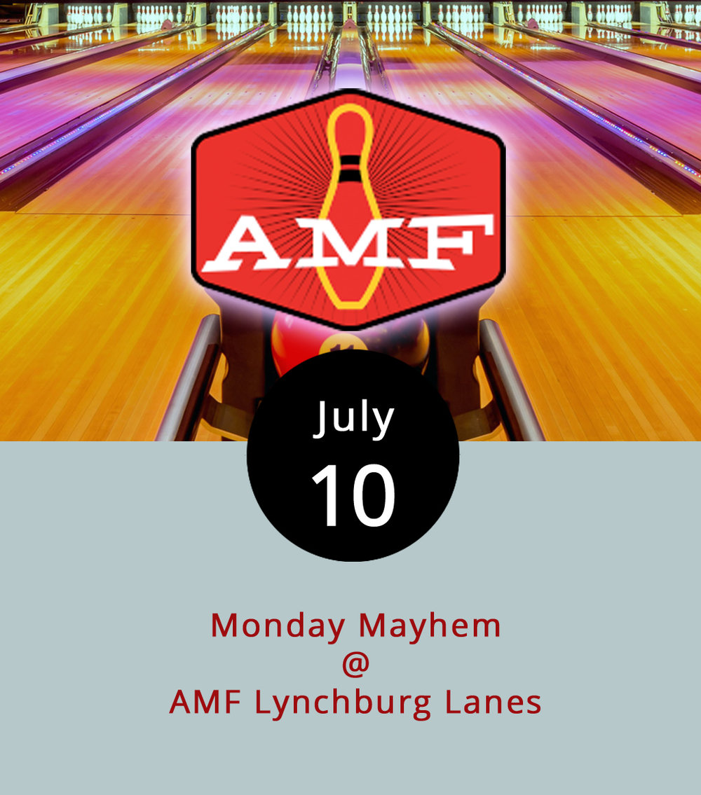 Take a cue from the Dude on Mondays, and stroll over to AMF Lynchburg Lanes (4643 Murray Pl.) to roll all night long for $12.09. The price for unlimited bowling from 6 p.m. to close at 11 p.m. also includes shoes. The deal is subject to lane availability, so anyone heading out late might want to call ahead even though the bowling alley has 40 lanes. For more information about the weekly special, that includes deals on drinks and pizza, click  here  or call (434) 528-2695.
