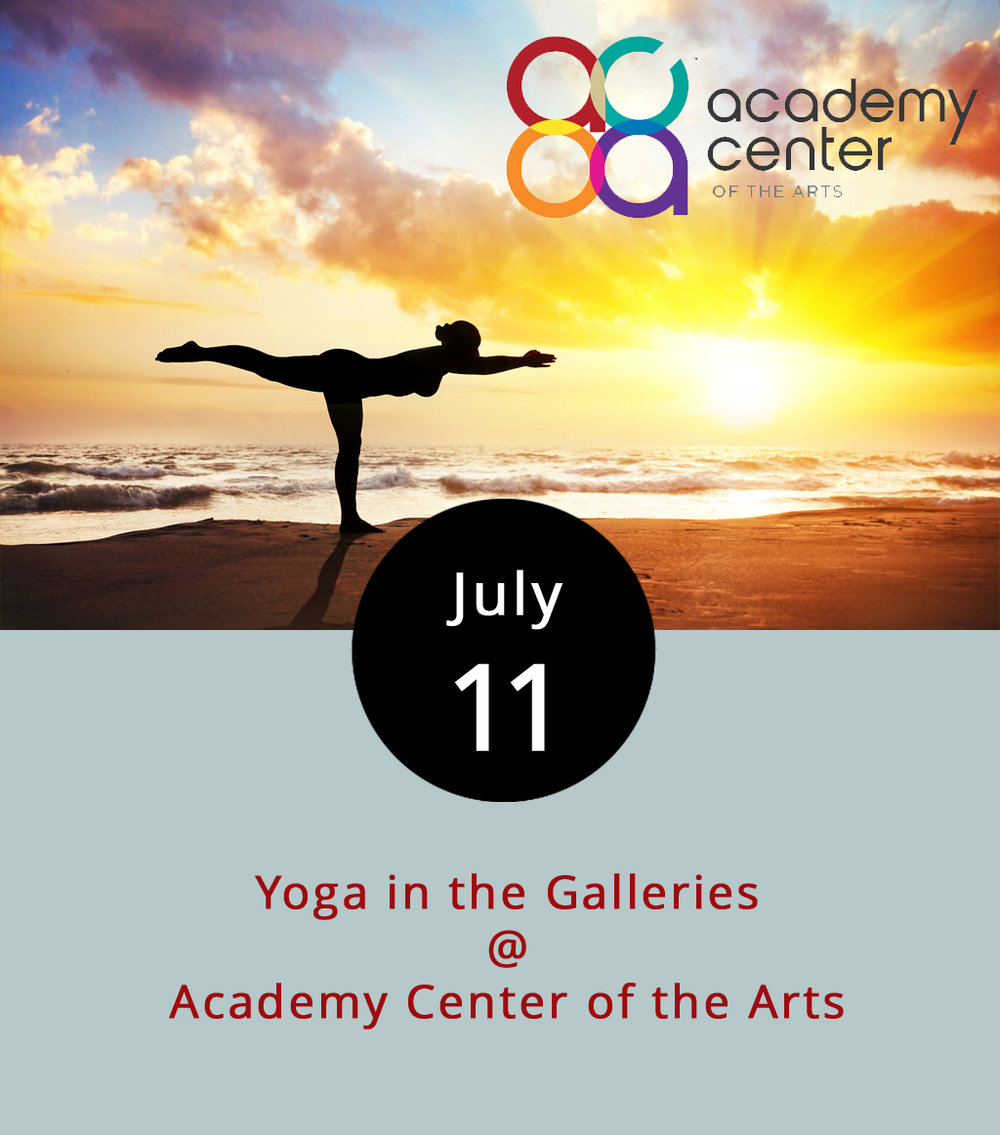 Whether you're looking for mindfulness or muscle tone, the Academy Center for the Arts (600 Main St.) is offering a yoga session tonight where you clear your mind and stretch your body among the works adorning the gallery walls. The one-hour mixed beginner class starts at 6 p.m. and recurs every Tuesday. The first session is free and mats are provided, so this class is an excellent opportunity to see what yoga is all about. Each additional one-hour class costs $8 each and continues every Tuesday evening and Thursday morning from 7:30-8:30 a.m. The teacher, Salina Khanna, grew up in Lynchburg and is a yogi practitioner certified at the Ishka Yoga Center in Cali, Colombia. For more information click  here  or call the academy at (434) 846-8499.