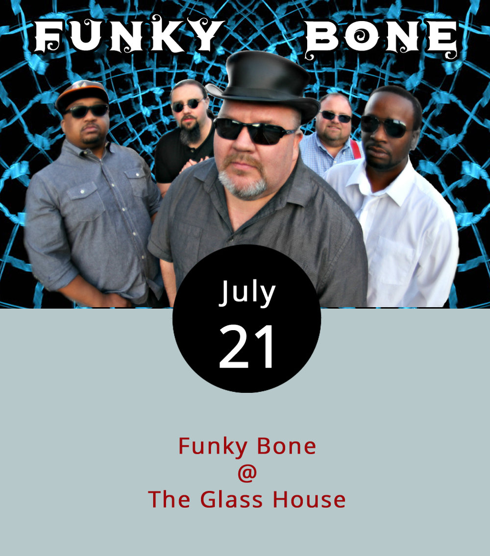 If you are looking to keep the night going after Cheers Lynchburg settles down, you can walk across the cobblestones to the Glass House (1019 Jefferson St.) where Lynchburg entertainers Funky Bone will play from 8:30-11:30 p.m. The band tout a cover playlist of funk and rock artists crossing several decades, including James Brown, the Red Hot Chili Peppers, and Daft Punk. Click  here  to sample the band's live sets. There is a $5 cover. For more information click  here .