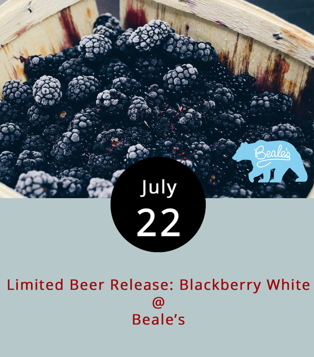 "The area's newest brewery features another fruit brew designed for the season today. Beale's (510 Grove St.) in Bedford expects the Blackberry White, a white ale flavored with blackberries, to sell out by the end of the day. No growler fills on this one, folks. Served alongside the brew with ""purple hue"" will be a Blackberry roll dessert made special for the event by  Town Kitchen & Provisions  out of produce from Bedford County's  Elliana Rose Blackberry Farm . Lynchburg's groove-centric  Apple Butter Soul  will play from 5-8 p.m. For more information click here or call (540) 583-5113."