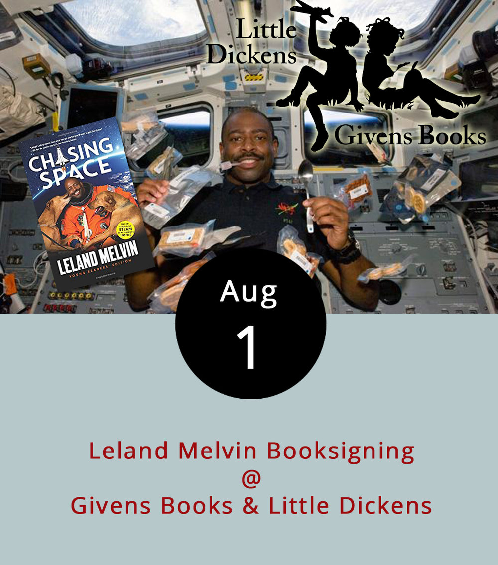 Lynchburg native Leland Melvin has had at least two rather interesting careers, and now he's moving on to third with his appearance this evening at Givens Books (2236 Lakeside Dr.). In 1986, after a stellar college career as a wide receiver at the University of Richmond, he was chosen in the 11th round of the NFL draft by the Detroit Lions. Injuries sidelined his football career after just a couple of season, but he had bigger and better things to do. In 1998, he entered NASA's astronaut training programs; ten years later he visited the International Space Station as a mission specialist on Space Shuttle Atlantis. That was one of two Shuttle missions he flew before retiring from NASA in 2014. Now, he's tackling a new challenge as a published author. His memoir  Chasing Space: An Astronaut's Story of Grit, Grace, and Second Chances  was published a couple of months ago, and he'll be talking about the book, his life, and his activism on behalf of scientific literacy this evening from 6-8 p.m.He'll also be back at Givens on August 19 for noon-time kids event to promote his young-adult version of the book. Click  here  for more info, or call Givens at (434) 385-5027.
