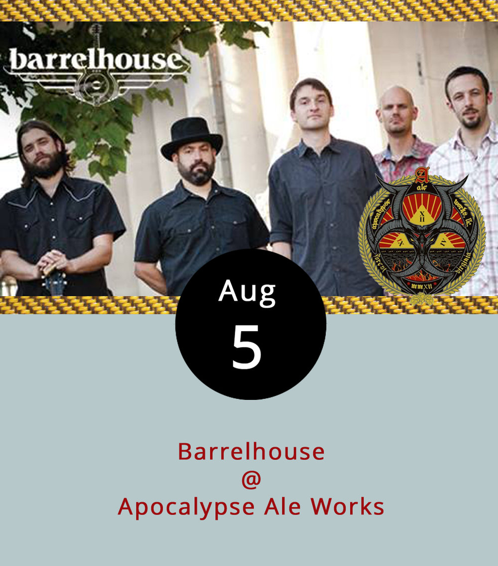 One of the bar-size venues we count on week-to-week for live music is the local brewpub Apocalypse Ale Works (1257 Burnbridge Rd.). The Forest ale house has an ample back deck, a big back yard, and live music most Friday and Saturday nights. Tonight, they'll have a group of blues musicians who specialize in performing where brews are made and even have a name to match. Barrelhouse, out of Richmond, will serve up fresh blues from 7-11 p.m. while Apocalypse keeps ale flowing. Click  here  for more info on the band, and  here  for an Apocalypse beer list. While the brewery does not sell food, they regularly book food trucks to park outside on weekend nights, and tonight it's  Sourdough Pizza Co.  Patrons can also order out, and Apocalypse keeps a stash of Upper Crust pizza  menus  on hand for just that reason. For more information click  here  or call Apocalypse at (434) 258-8761.