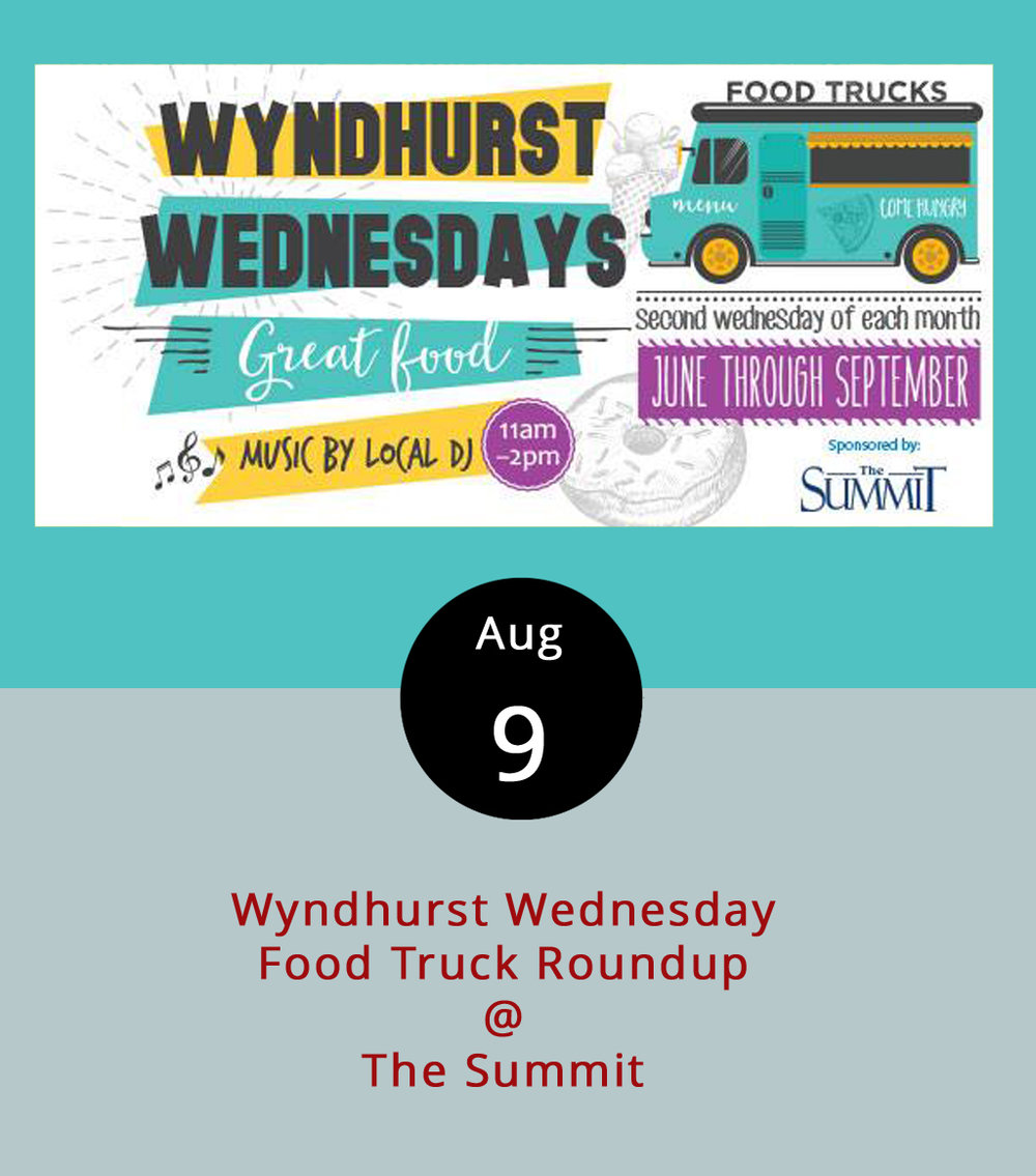 Some of Lynchburg's best food trucks are convening for a lunchtime round-up with a Blue Ridge view today from 11 a.m.-2 p.m. Bring a blanket or chairs to recline, and  Uprooted , Hibachi Guys ,  Mama Crockett's Cider Donuts ,  Taco Shark  and  The Frosty Penguin  will be on hand to provide the food at the Summit (1400 Enterprise Dr). Along with room for people to set their own picnic spots, the Summit offers outdoor seating on its north lawn. The next and last Wyndhurst Wednesday for the season will be September 13 at the same location. For more information and updates click  here  or call (434) 582-1500.