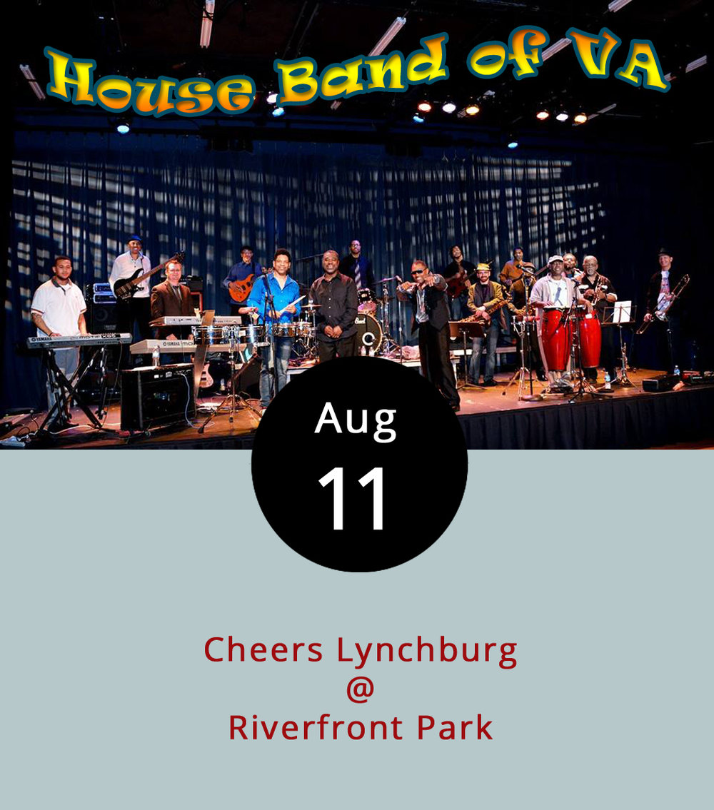 With summer slipping away, there are only two Cheers Lynchburg concerts left for the season at Riverfront Park (1000 Jefferson St.). Tonight, the weekly show features the Lynchburg-based House Band of VA, an 11-member group performing covers in the range of R&B, funk and soul. For more information about the band and to hear their performances, click  here . The concert series has a $5 cover for each show, but children under 12 years old get in free. The gate opens at 5:30 p.m. Lawn chairs and blankets are welcome, but no outside coolers, drinks or food are permitted. Food trucks and alcohol-for-sale are available inside the gate. For more information, click  here .