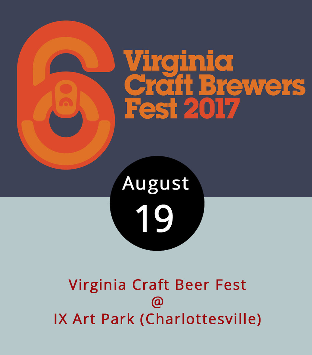 Virginia's largest gathering of Commonwealth craft brewers has shifted venues this year, from Devil's Backbone in Roseland, to IX Art Park (522 2nd St.) in Charlottesville. Yes, it is a longer trip from Lynchburg. But did we mention that it's the Commonwealth's largest gathering of craft brewers? The festival is from 2 to 8 p.m. and features libations from 95 Virginia breweries – click  here  for a full list. Attendees can consume responsibly to their heart's content for the price of a $50 general admission ticket, which includes an official tasting glass. A wide range of food trucks and vendors will also be on hand. Designated driver tickets are available for $25. For ticketing, click  here . There is no on-site parking, and finding a spot in Charlottesville isn't always easy, so the festival organizers have put together a handy  parking guide . Click  here  for more info or call (434) 293-0610.