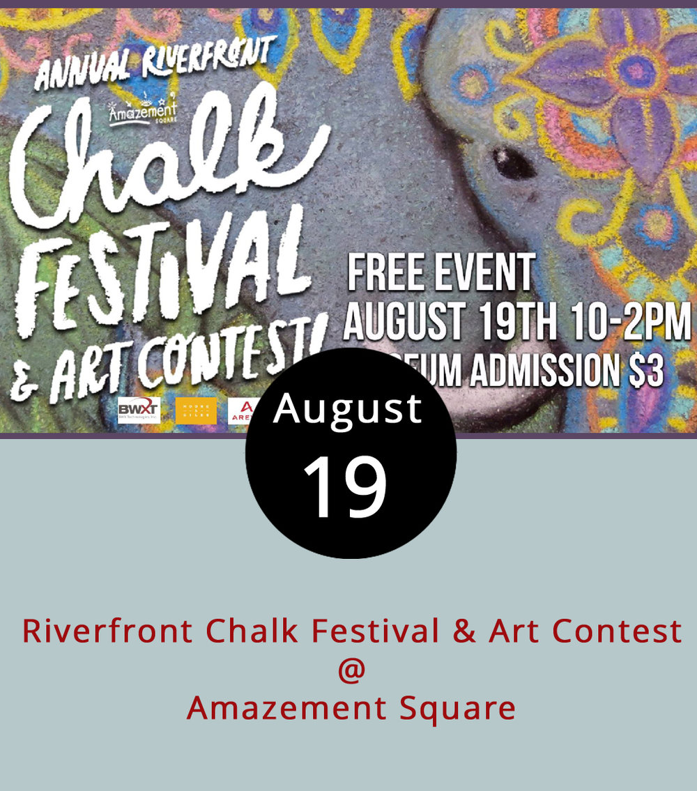 "Couldn't we all use a little more love and peace these days? Why not add your own chalked message of ""Love & Peace"" to downtown Lynchburg from 10 a.m. -1:30 p.m.at Amazement Square's (27 9th St.) annual Riverfront Chalk Festival & Art Contest? Each participant will have their own 4'x4' square slab of parking lot and seven pieces of chalk (white, black, red, yellow, blue, violet and brown) to work with, although participants can bring additional materials. Judges will determine winners from among three age groups. Registration, beginning at 9 a.m., is $20 for those 18 and older, and $10 for those between ages 6 and 18. Children under 6 years old can draw for free in a designated area. The contest takes place at ""Parking Lot N"" (800 Jefferson St.), across the street from Amazement Square. For more info, click  here , email  visitus@amazementsquare.org , or call (434) 845-1888. The contest is part of a block party featuring food trucks, crafts, and games hosted by Amazement Square, as well as music by Apple Butter Soul. Admission to the block party is $3."