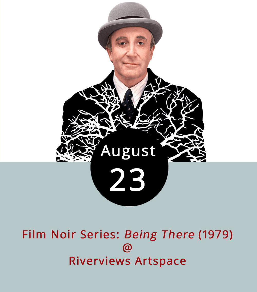 After his lifetime boss dies, a sheltered mansion gardener named Chance (played by legendary actor and comedian Peter Sellers) is thrust out into a world he knows only through television. In the comedy/drama  Being There  (1979) directed by Hal Ashby, a car accident and a misunderstanding connects the simple gardener, now called Chauncey Gardiner, with a powerful, political and aging businessman Benjamin Rand (Melvyn Douglas) and his young wife, Eve (Shirley MacLaine). The film, which is based on a novel by Jerzy Kosiński is a brilliantly biting political satire and a classic comedy of manners. It is not, however, a film noir, even if it is part of the Rivervies Film Noir Series. It screens this evening at 7:30 p.m. at Riverviews Artspace (901 Jefferson St.). As always, bronze artist and movie buff Ken Faraoni will be on hand to provide a little pre-movie commentary on the film's creation, cultural context, and impact. Tickets are $6; call (434) 847-7277 or click  here  for more info.
