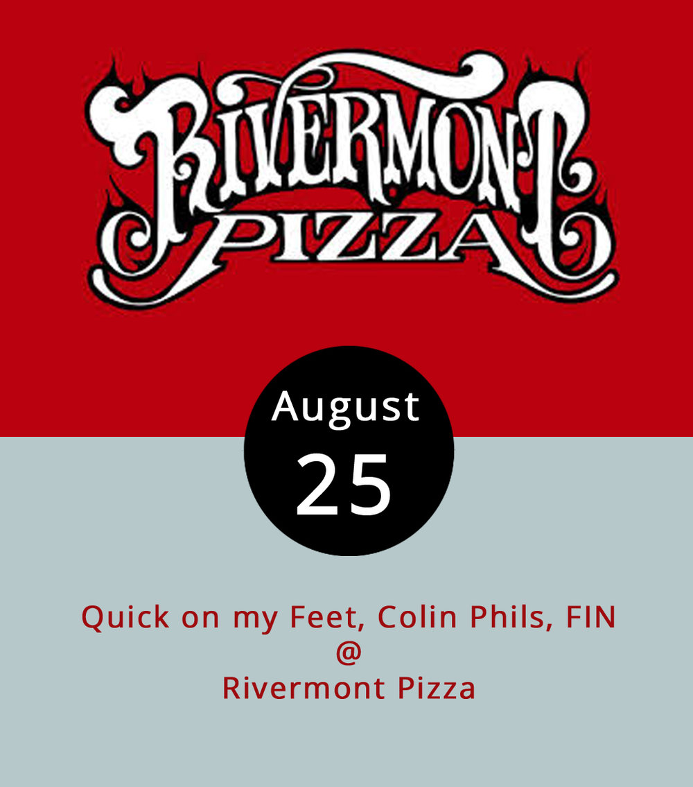 Rivermont Pizza (2496 Rivermont Ave.) has a trio of bands on the bill this evening. You may recognize the name  FIN  – they opened for Blues Traveler down at Riverfront Park a few weeks ago.  Colin Phils  is an indie band out of Richmond, although they formed in South Korea and toured in China for a while. And then there's the local guys that put the show together and happen to have a band of their own:  Quick on my Feet . The show is pre-party for the upcomming release of a new self-titled album by Quick on my Feet. The first band should start between 10:30 and 11 p.m. Last call is 1:15 a.m. No cover. For more information, click  here .