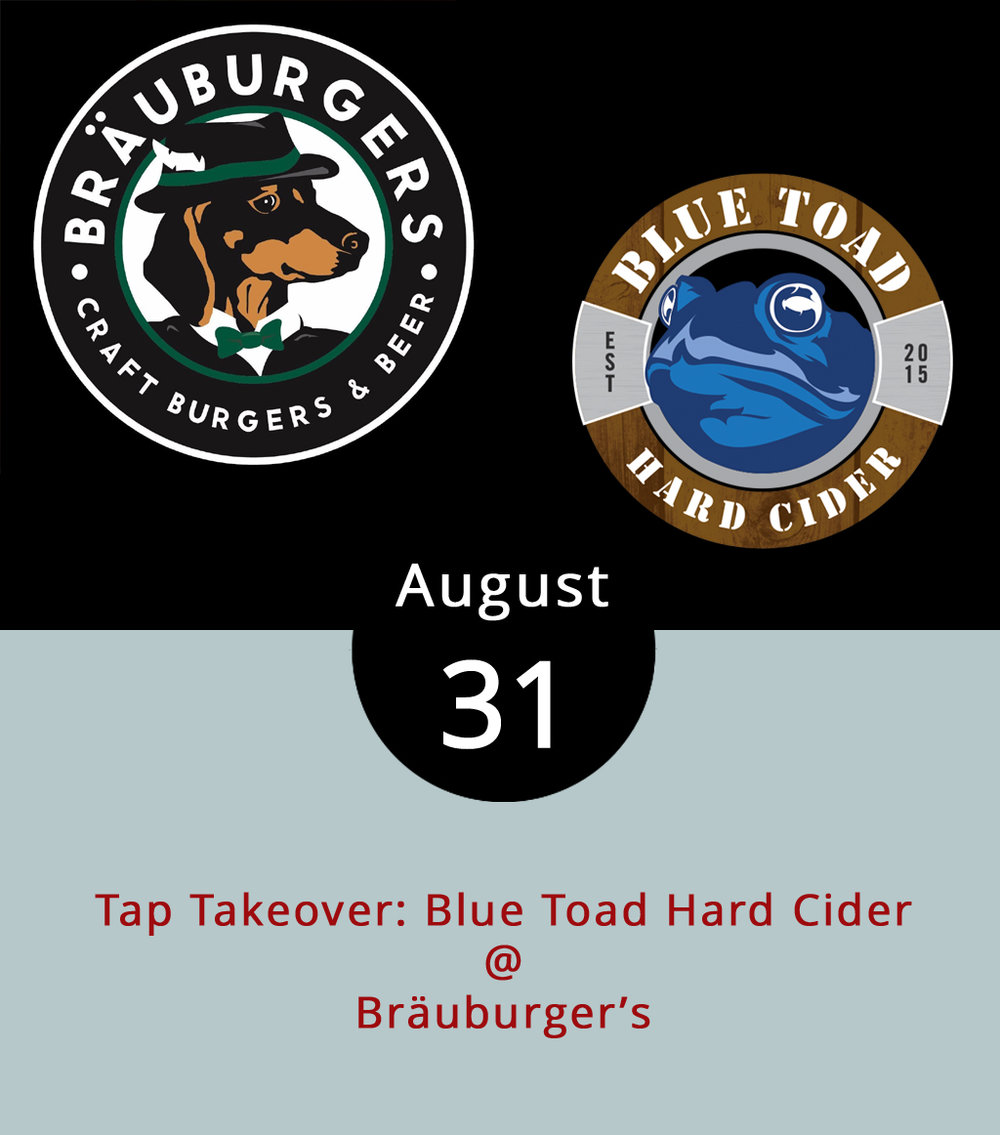 Although the new Bräuburger's (1332 Venture Dr., Suite A, Forest) location is worth visiting on its own, tonight there's a little extra incentive as Blue Toad Hard Cider takes over the taps. The now much larger sports bar, just a block or so away from the original location in Forest, will have four hard cider flavors on tap from the Nelson County/Rochester, New York  cidery . The Bräuburger's upgrade is so significant, we dare to call the new restaurant a facility. There's plenty of bar space and lots of outdoor seating. They've got enough TVs on the walls that any game of relevance should be reachable by any eye in the crowd. There's even TVs on the patio, so sports fans can enjoy the cooling weather accompanied by one of 42 brews on tap and not miss a pitch, pass, or putt. And the burger-centric  menu  is pretty darn tasty as well. For more information about the event, click  here  or call (434) 525-2727.
