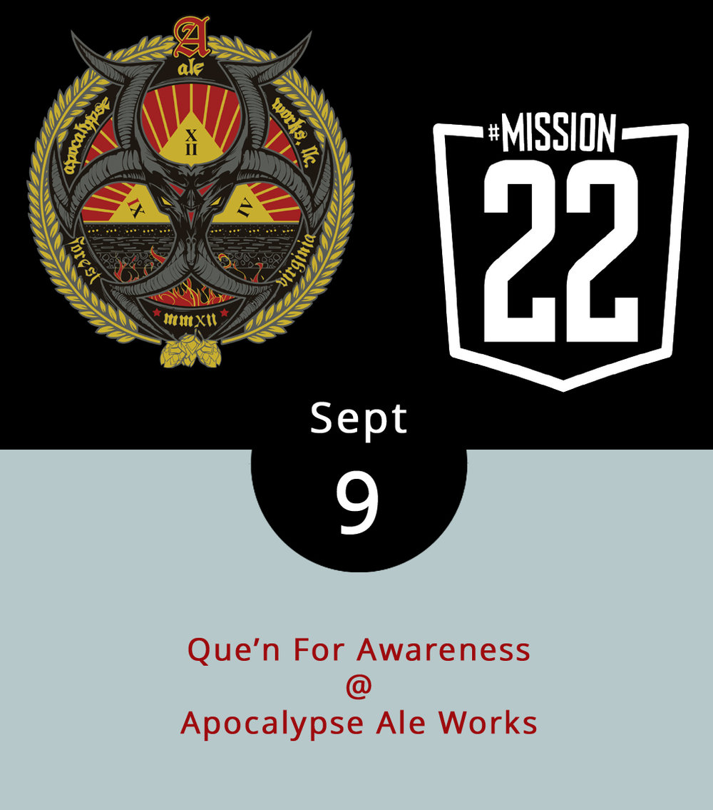 "In 2012, 22 United States military veterans per day died of suicide with rates much higher than the civilian population, according to a recent U.S. Department of Veterans Affairs report. In order to raise awareness, Brew-B-Que is hosting the ""Que'n for Awareness"" event and fundraiser at Apocalypse Ale Works (1257 Burnbridge Rd.) today. Starting at 3 p.m.  Brew-B-Que  will donate 10 percent of the day's proceeds to helping prevent these deaths. They're partnering with Mission 22, a nonprofit founded by veterans to raise awareness, provide support and end veteran suicide. For more information, click  here  or call (434) 485-5700. For more information about Mission 22, click  here ."