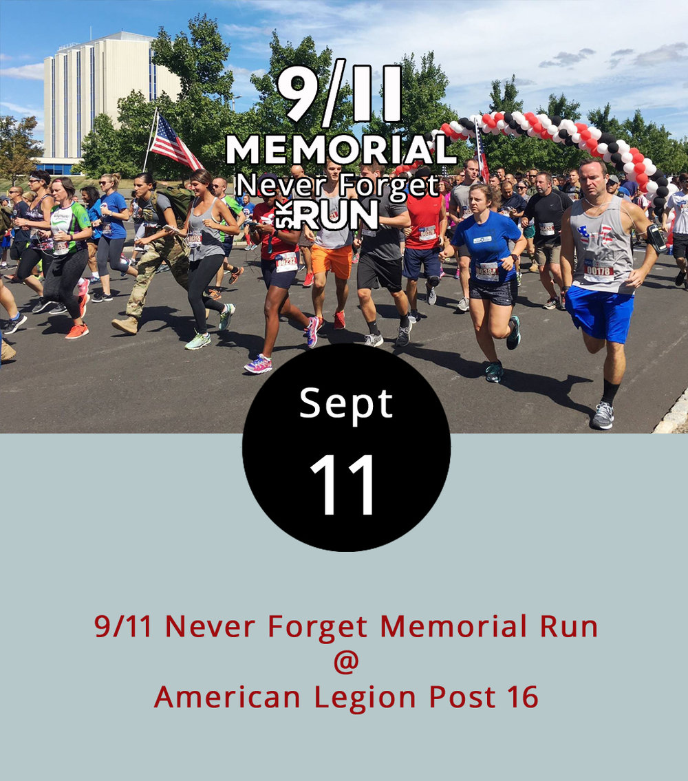 It's been 16 years since the terrorist attacks that killed close to 3,000 people and changed the course of modern history. One way to honor the sacrifices that took place that fateful day is to join the Lynchburg Area Veteran's Council for the 9/11 Never Forget Memorial Run tonight at 6:30 p.m. The 5k and 1-mile runs start at the Lynchburg American Legion Post 16 (1301 Greenview Dr.). Registration is $30 for the 5k and $15 for the 1-mile run. Online registration (click  here ) ends Sept. 9 at 11:59 p.m. The fundraiser puts money toward honoring fallen soldiers and first responders as well as providing support for Lynchburg-area veterans. The Veterans Council is a nonprofit organization that raises money for the Vietnam Veterans of America (Chapter 196), The American Legion (Post 16) and Military Order of the Purple Heart (1607). For more information about the Veterans Council, click  here  or email  vets@lynchburgareaveteranscouncil.org .