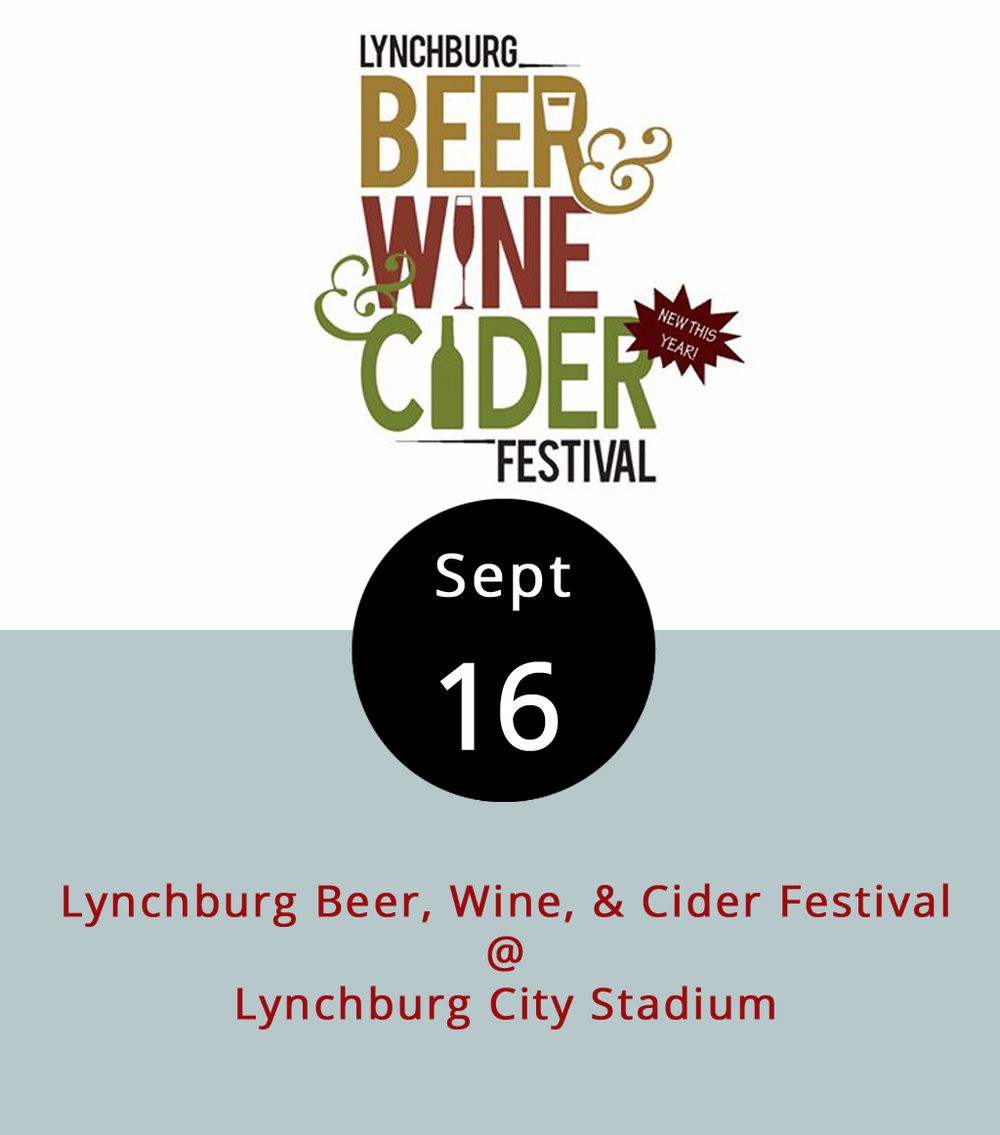 For eight years now, local vintners and brewers have been gathering at Lynchburg City Stadium (3176 Old Forest Rd.) every September for a festival devoted to beer and wine. We've got a small change to announce this year: thanks to the numerous artisanal cideries that have popped up in Central Virginia, it's now officially the Lynchburg Beer, Wine, & Cider Festival. The event takes over at Lynchburg City Stadium (3176 Fort Ave.) today from noon-7 p.m. It'll feature potables from Blue Mountain, Devil's Backbone, Wild Wolf, Angry Orchard, Bold Rock, Ballast Point, and others. Click  here  for a complete list. There will also be food by local vendors and music by the local bands Dragonfly, Jenny & the B-Side Rockers, the Dundees, and Out of Spite. Tickets are $25 in advance, or $30 at the door, but last year's festival did sell out. There are also $15 designated driver tickets available. Click  here  for more info, or call (434) 473-7319.