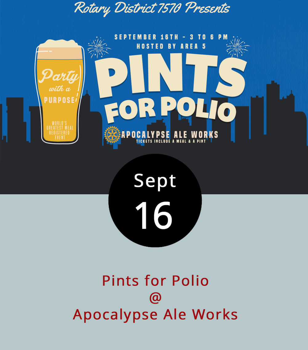 Although polio was eradicated in the United States long ago, the Rotarians are continuing to raise money to fully eradicate the dreadful disease, which still lingers in a few countries. As part of this noble effort, the Rotary Club of Lynchburg holds a fundraiser tonight at Apocalypse Ale Works (1257 Burnbridge Rd.). A $20 advance/$25 at the door ticket gets you an entree and side from  Centra Code Fresh Food Truck  and a pint of one of Apocalypse's fine brews. Commemorative pint glasses will be on sale for $10, which includes a buck off the beer it takes to fill it. For more information, call Apocalypse at (434) 258-8761, or click  here  to purchase advance tickets.