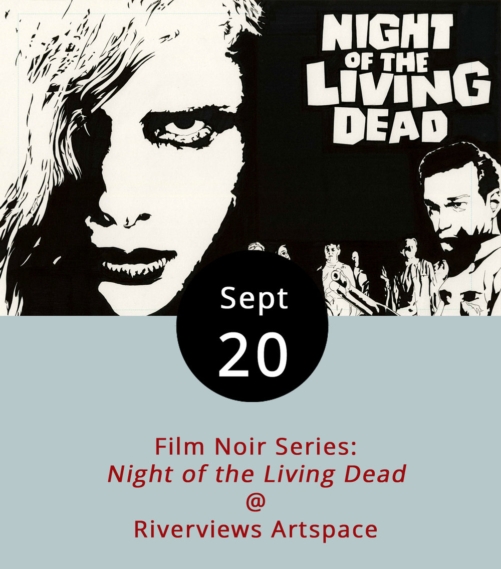 The film that brought the entire zombie genre to life by reanimating the dead and having them limpingly, but relentlessly, chase the living, is playing tonight at Riverviews Artspace (901 Jefferson St.). The monthly Film Noir Series features  Night of the Living Dead  (1968) tonight at 7:30 p.m. In the film, directed by George A. Romero, the dead suddenly rise from their graves and hound the living. Eventually, a group that includes Duane Jones, Judith O'Dea, Karl Hardman and Mary Eastman wind up trapped in a farmhouse surrounded by the recently undead.   As always, bronze artist and movie buff Ken Faraoni will be on hand to provide a little pre-movie commentary on the film's creation, cultural context, and impact. Tickets are $6 and a cash bar is available; call (434) 847-7277 or click  here  for more info.