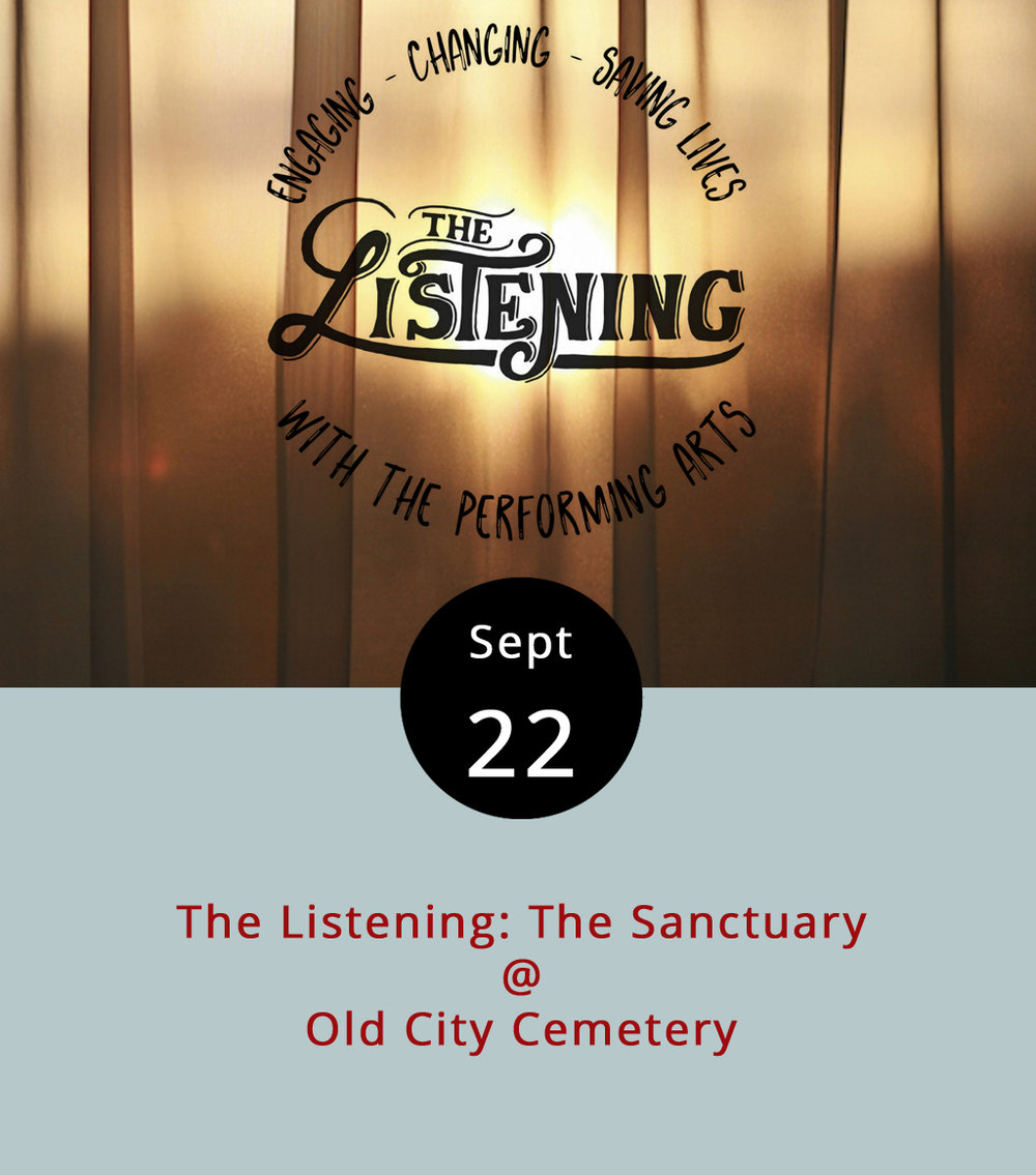 The Listening is perhaps best described as a difficult to describe local arts advocacy and social justice organization who host events that involve, well, listening. This evening they're declaring sanctuary for anyone affected by depression or suicide at an open event from 7-9 p.m. in Old City Cemetery Chapel (401 Taylor St.), which could be a little morbid, but it's quite a cool space. It's open mic event that offers amateur storytellers and other practicing performers a chance to do a little  Moth -style unburdening of the soul. There's a $5 cover charge, a portion of which will go to the American Foundation for Suicide Prevention. Incidentally, September is Suicide Prevention Awareness Month. For more information about the event, click  here . And, you can always call the National Suicide Hotline at 1-800-273-TALK.