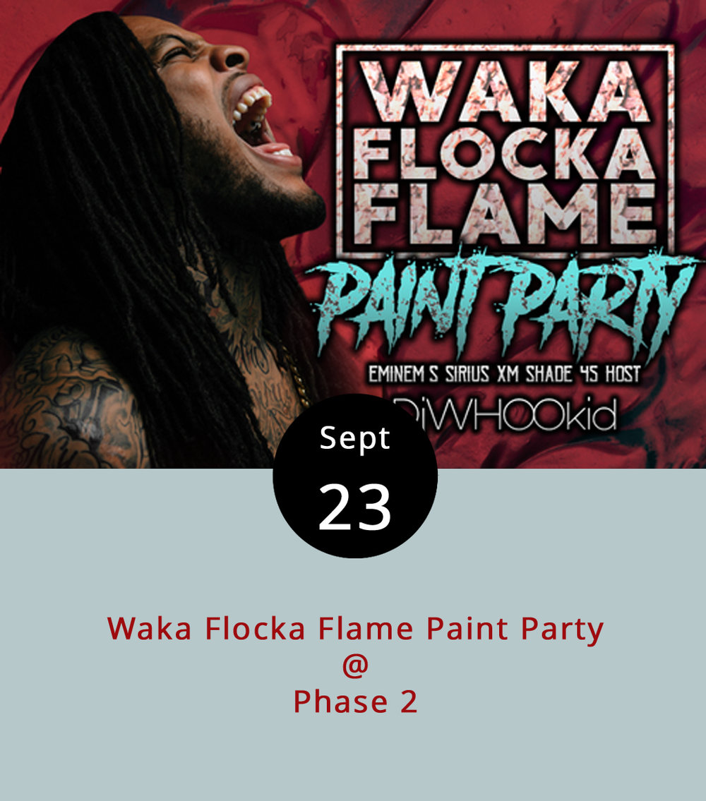 "Trap-rap meets 200-plus gallons of paint tonight at Phase 2 (4009 Murray Pl.) for a ""Paint Party"" featuring Georgia-by-way-of-NYC rapper Waka Flocka Flame. It makes a little bit of sense: Waka Flocka had an underground hit with the single ""Hard in da Paint,"" which we thought was a basketball reference, and there will be lots of paint in loaded paint cannons and paint guns at the show.What could possibly go wrong? The show's targeted to promote the October release of  Flockaveli II , which is Waka Flocka's fourth studio album. Click  here  to hear the album's first single, ""Big Dawg."" General admission tickets are $20, or you can pay $34.50 for a Paint Warrior 2K17 pass that includes a bottle of paint, complimentary towel, and other amenities. Doors open at 7 p.m., the paint party begins at at 8 p.m. and Flame goes on around 10 p.m. with backing from DJ Whoo Kid. It's an 18-plus show; call (434) 846-3206 or click  here  for more info."