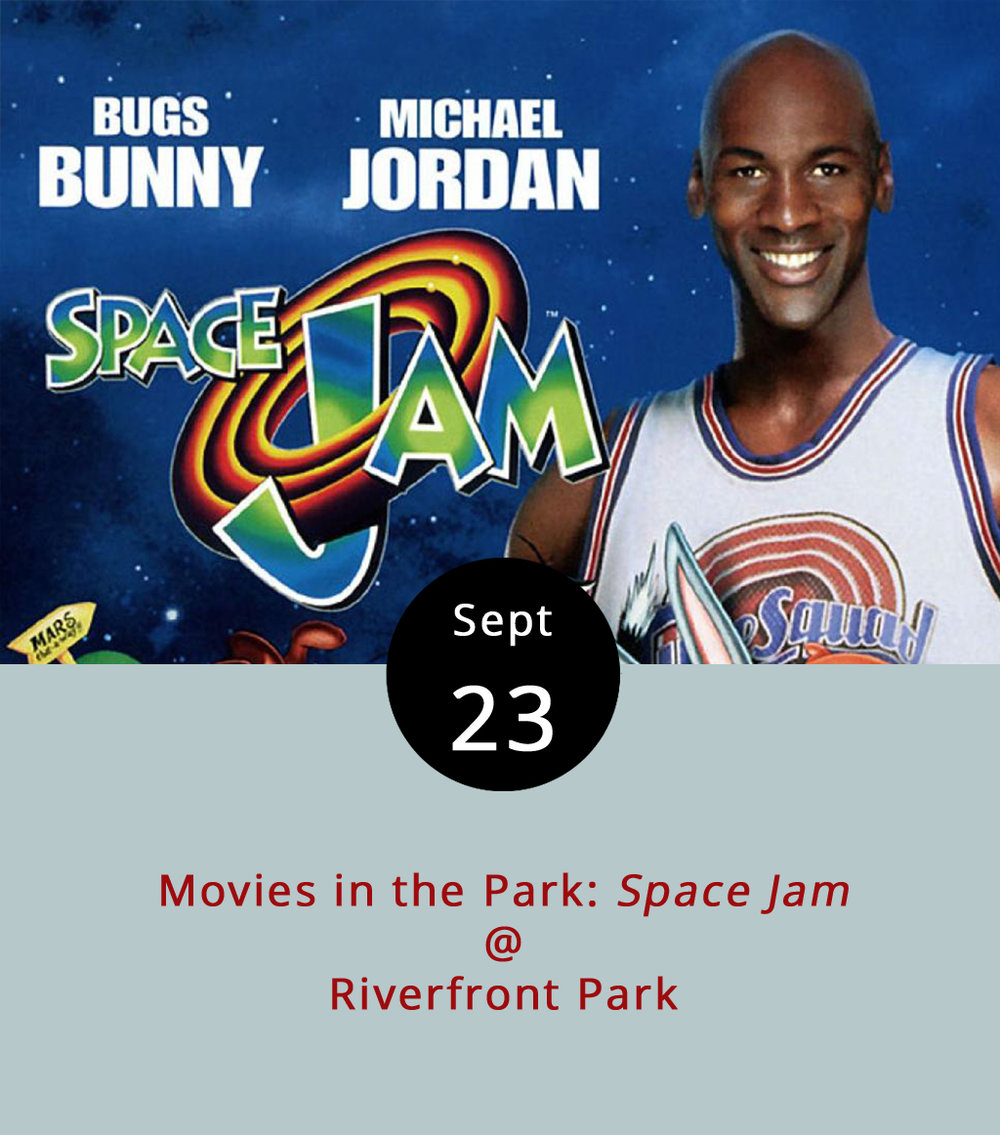 When Michael Jordan was in his prime, he took a year off from the NBA to play minor league baseball. Two years later the plot thickened as Jordan led the Bulls to the first of three consecutive championships and starred alongside Bugs Bunny, Daffy Duck, Porky Pig, and the too-often overlooked Pepé Le Pew in  Space Jam , a blockbuster mash-up of cartoon characters, character actors, and actual NBA stars. Oddly, the plot hinges on a star basketball player who retires in order to play baseball, only to find out he's not nearly as good out on the diamond as he is on a parquet court. Aliens and Charles Barkley get invovled and joyous mayhem ensues. Suffice to say, the fictionalized account is marginally weirder than the real events.  Space Jam  screens at sunset at Riverfront Park (1000 Jefferson St.) tonight as the last in the Lynchburg Parks and Recreation Movie in the Park series. The fun begins at 7 p.m., with Upper Crust Pizza Company, T&E Catering, Nomad Coffee Co., and MayLynn's Creamery on hand to provide sustanance and sweets. For more information, click  here  or call (434) 455-5858.