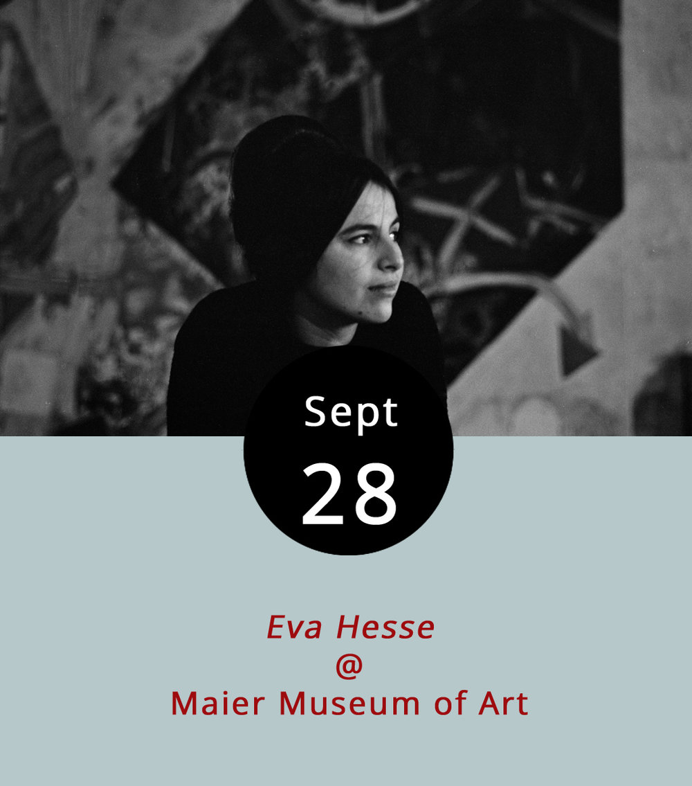 "Eva Hesse was only a toddler in 1939 when her German-Jewish family escaped to the US from Nazi Germany. She would go on to become an iconic post-minimal artist. In 2016, director Marcie Begleiter made a film about Hesse, who used found items and materials like rope, cord and netting to make three-dimensional pieces described in the documentary as ""on the borderline of uncontrollability,"" and who sadly died of a brain tumor at the age of 34 in 1970.  Eva Hesse  screens tonight at Randolph College's Maier Museum of Art (1 Quinlan St.). The screening is free and runs from 7-9 p.m. For more information, click  here  or call (434) 947-8136."