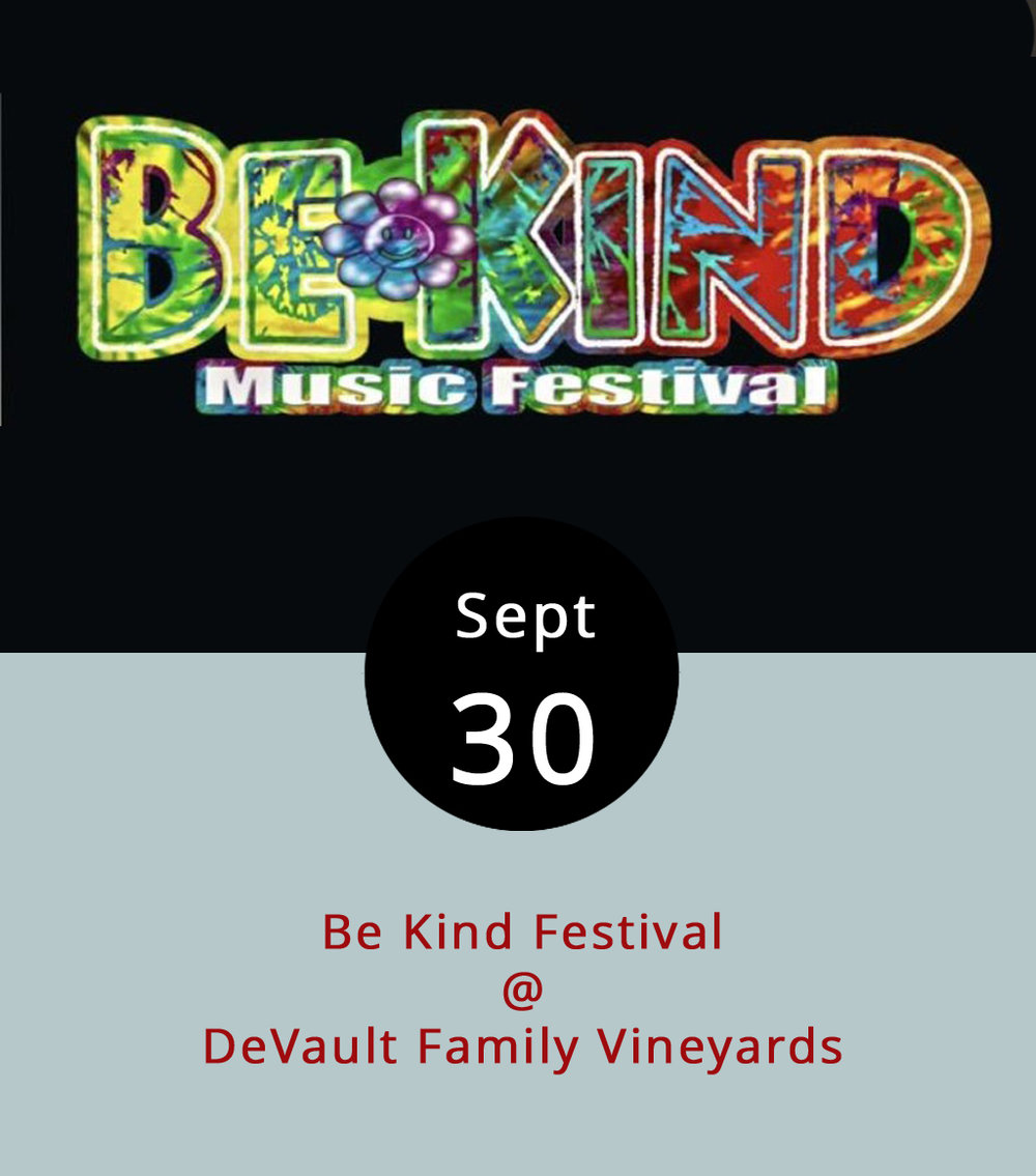 Last month DeVault Family Vineyards (247 Station Ln.) was the setting for the Creedly metal blowout known as the Blue Ridge Rock Festival. This month, they've got something a little more laid-back but no less rockin' in store. Today from 3-11 p.m. the Be Kind Festival takes over the scenic Concord vineyard for some funk and jam music. The Waynesboro-based traveling jam band the Mad Hatters are the headliners, but there's a strong line-up of openers throughout the day, including singer-songwriter Ben Delaurentis, the funkadelicized Tony Camm & the FUNK Allstars, and the Dead-heady Long Strange Night. There will be food and beer vendors, crafts, and room for camping if you want to stay the night. Advanced tickets are $10, and it's $15 at the gate. Click  here  for tickets and info, or call (434) 993-0722.