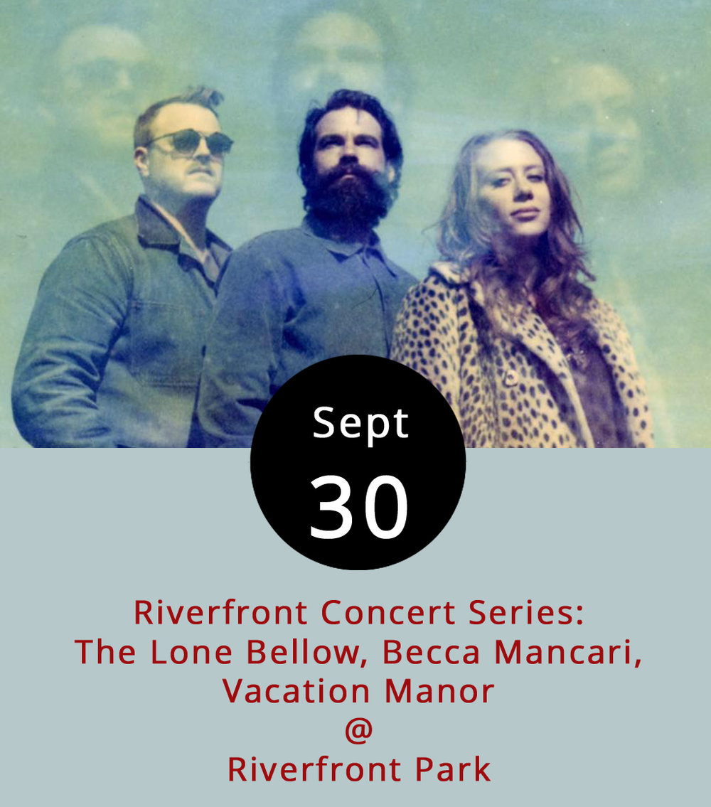 The Riverfront Park Concert Series has trended toward older acts, such as Blues Traveler and George Clinton, but this weekend the Academy Center of the Arts presents a trio of performers who are up-and-coming. While the Brooklyn-based indie-folk band  the Lone Bellow  are on their third studio album –  Walking Into a Storm  came out in September — they're still relatively new. Opener Becca Mancari is a former Lynchburg resident who made  Rolling Stone 's 10 New Country Artists You Need to Know list in August. And Vacation Manor provides their Nashville roots sound. This is the last of the summer concert series events at Riverfront Park (1100 Jefferson St.) and gates open at 5 p.m. with a 7 p.m. start time; food and beverages will be for sale on site. General admission tickets are $10; there are also VIP tix for $45. Click  here  for more info. This is a homecoming of sorts for Mancari, who attended Liberty and performed around town before moving to Nashville. Her website features a  video  of her performing at the bygone Keep Colony.