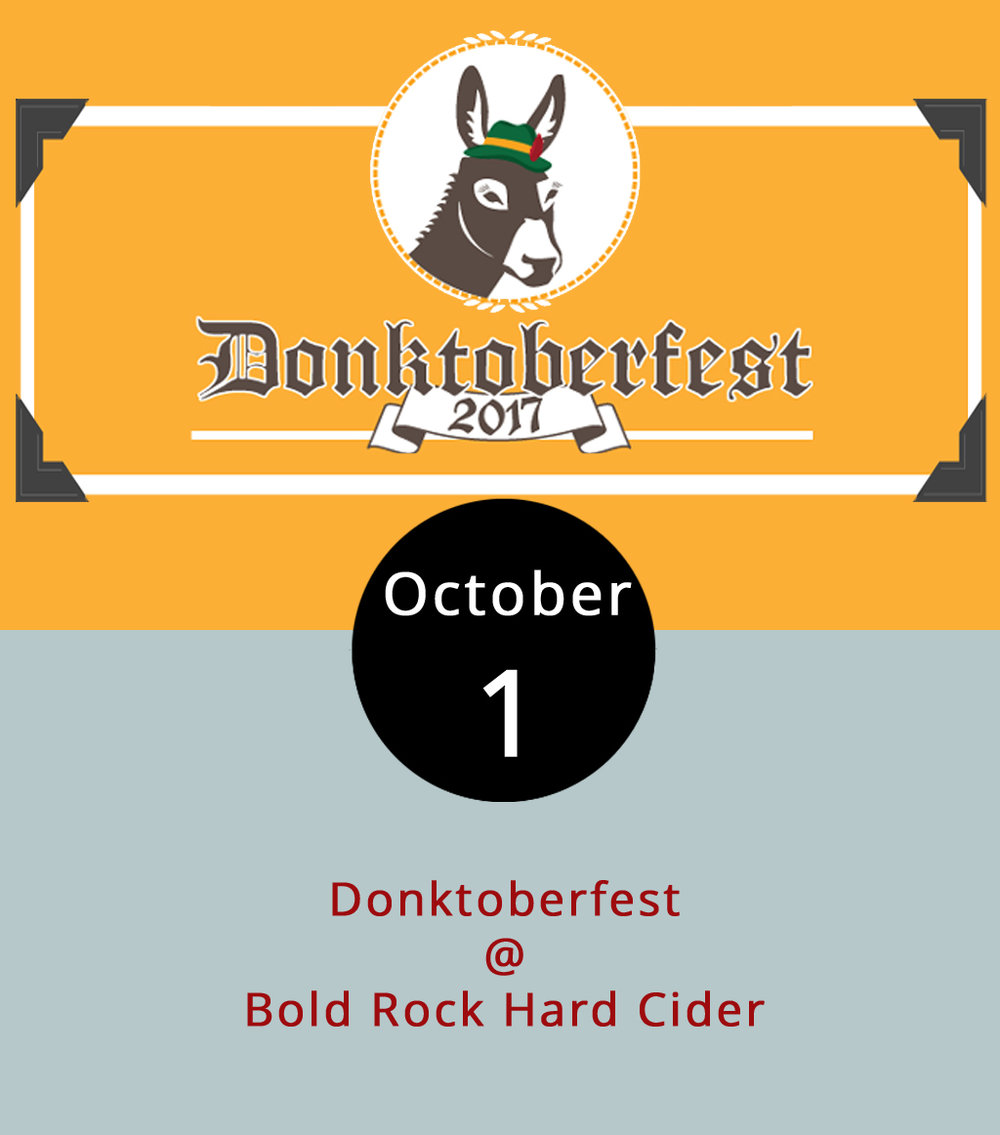 Oktoberfest has its roots in German beer culture; Donktoberfest is a related beast that is firmly grounded in the red-clay soil of Central Virginia, thanks to the good folks at Nellysford's Bold Rock Hard Cider (1020 Rockfish Valley Hwy.). From noon-5 p.m. today, the cidery will feature a celebration centered around the donkey dash, a race that benefits Virginia Donkey Rescue, an organization that protects donkeys from auction blocks and kill pens. A few donkeys will be on hand to pose for pictures and hang out at the free event, which includes live music, food trucks, and custom crafts. For a list of vendors, click  here . Human-only contestants ($25 per person) get a slight edge in the 1-mile donkey dash; they start at 1:30 p.m. while human-donkey pairs ($30) start five minutes later. To register and for more information, click  here .