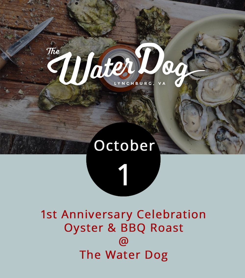 "To celebrate its first birthday, the Water Dog (1016 Jefferson St.) is throwing a barbecue featuring its signature oysters (of course) and ribs. The cookout will feature Blue Mountain Brewery beers, ribs cooked outside on a wood-burning grill, and oysters raw and roasted. They'll have cornhole set up and the hardwood mountain jam band  Five Oaks Fire  will be on hand to perform. There are two ticketing options: a $20 single meal ticket and $50 ""all you can eat"" ticket, which includes a Blue Mountain or Water Dog pint glass. For more information, click  here  or call (434) 333-4681."